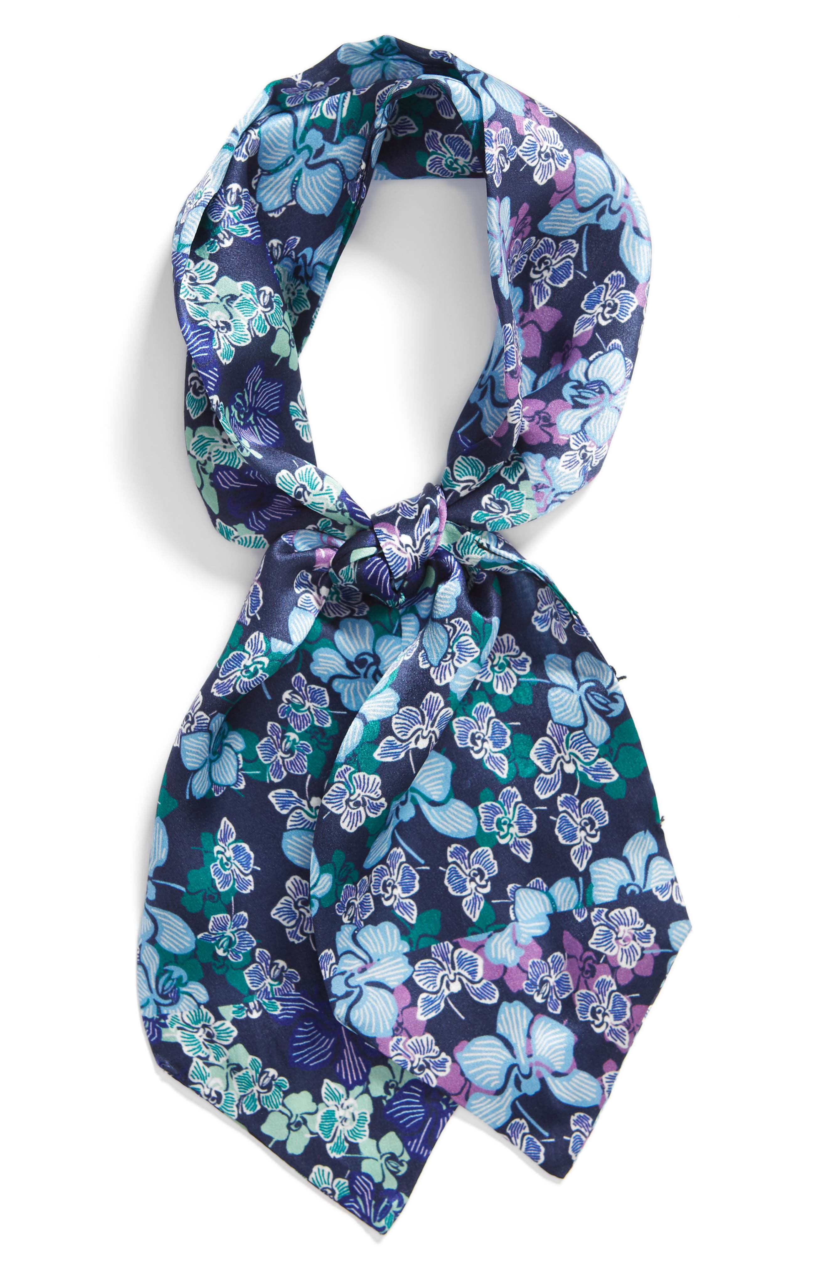 HALOGEN<SUP>®</SUP>, Floral Silk Tie Scarf, Alternate thumbnail 2, color, BLUE GLAM FLORA