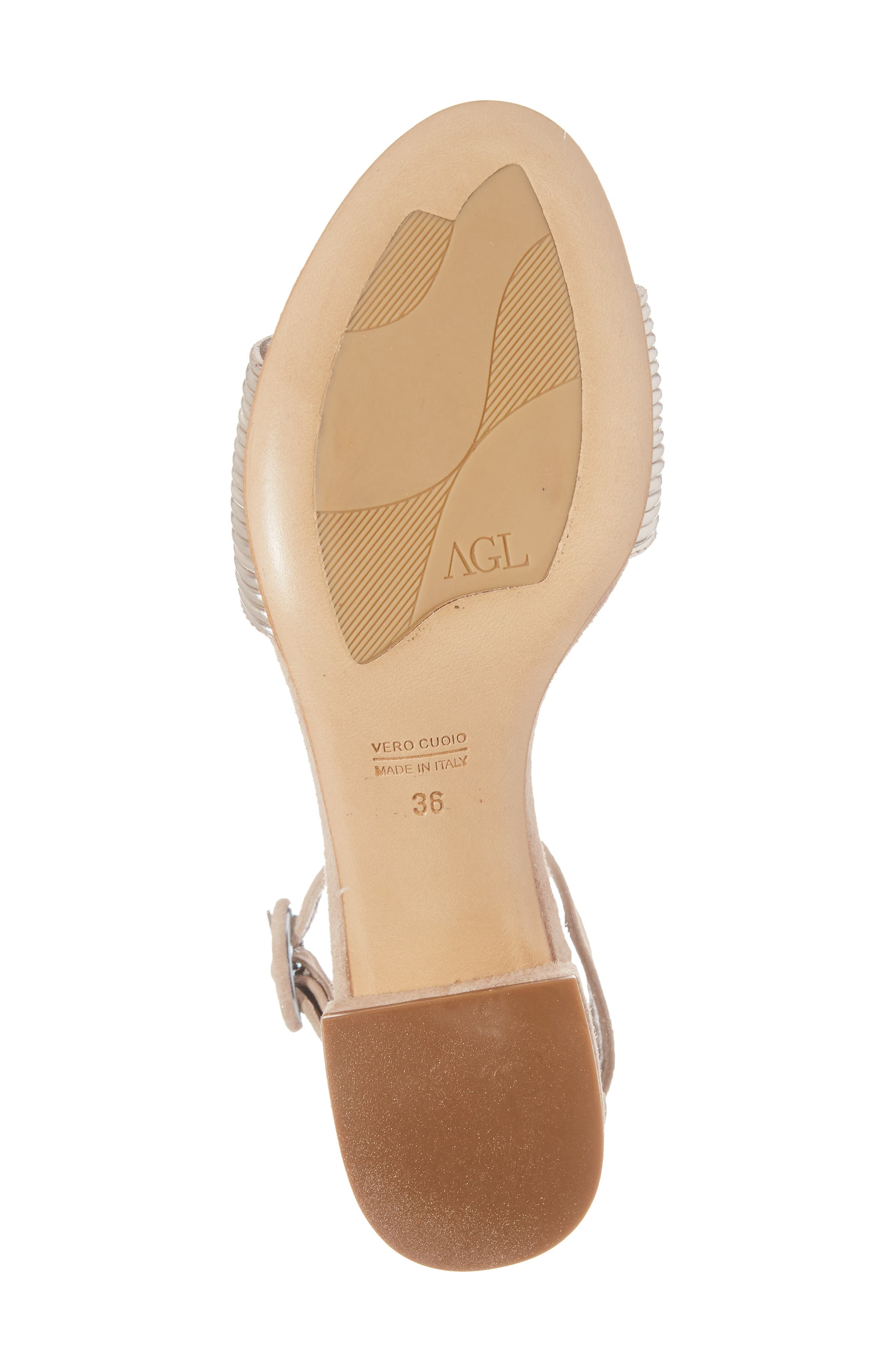 AGL, Ankle Strap Sandal, Alternate thumbnail 6, color, PLATINUM SUEDE