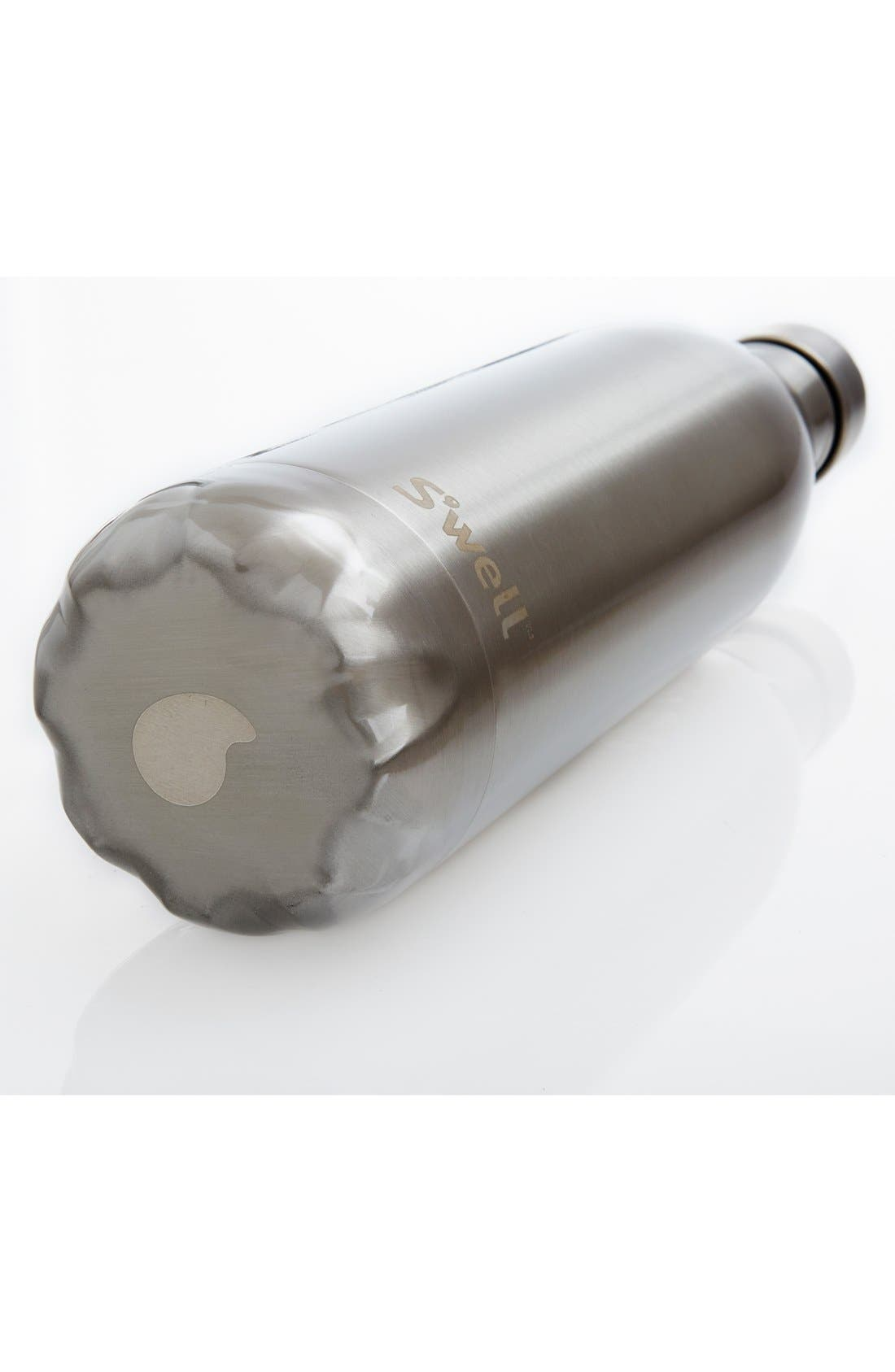 S'WELL, 'Silver Lining' Stainless Steel Water Bottle, Alternate thumbnail 4, color, SILVER