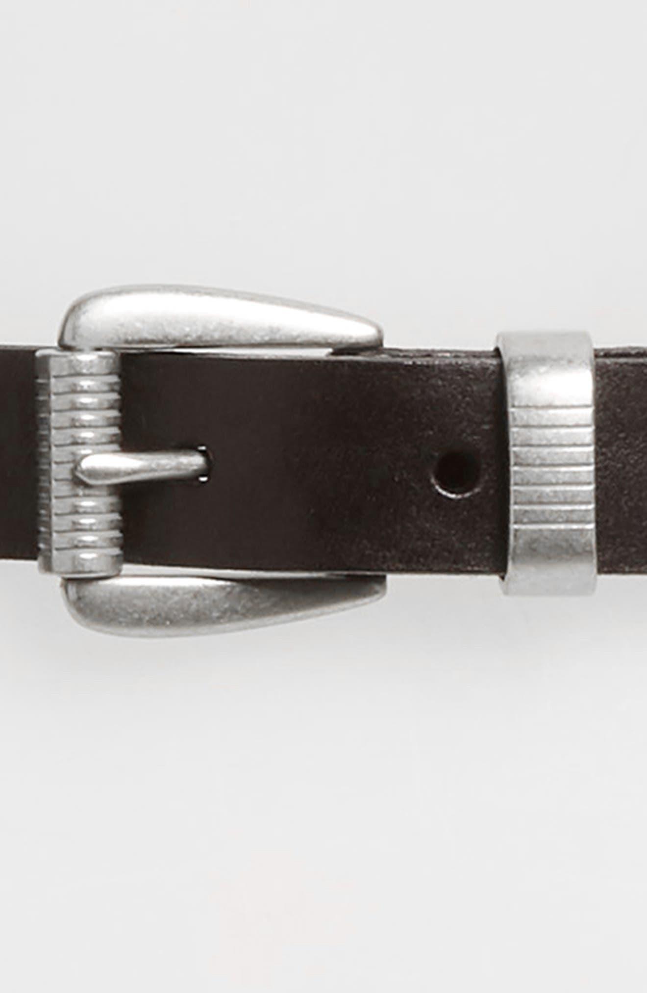 MADEWELL, Leather Three-Piece Belt, Alternate thumbnail 3, color, TRUE BLACK