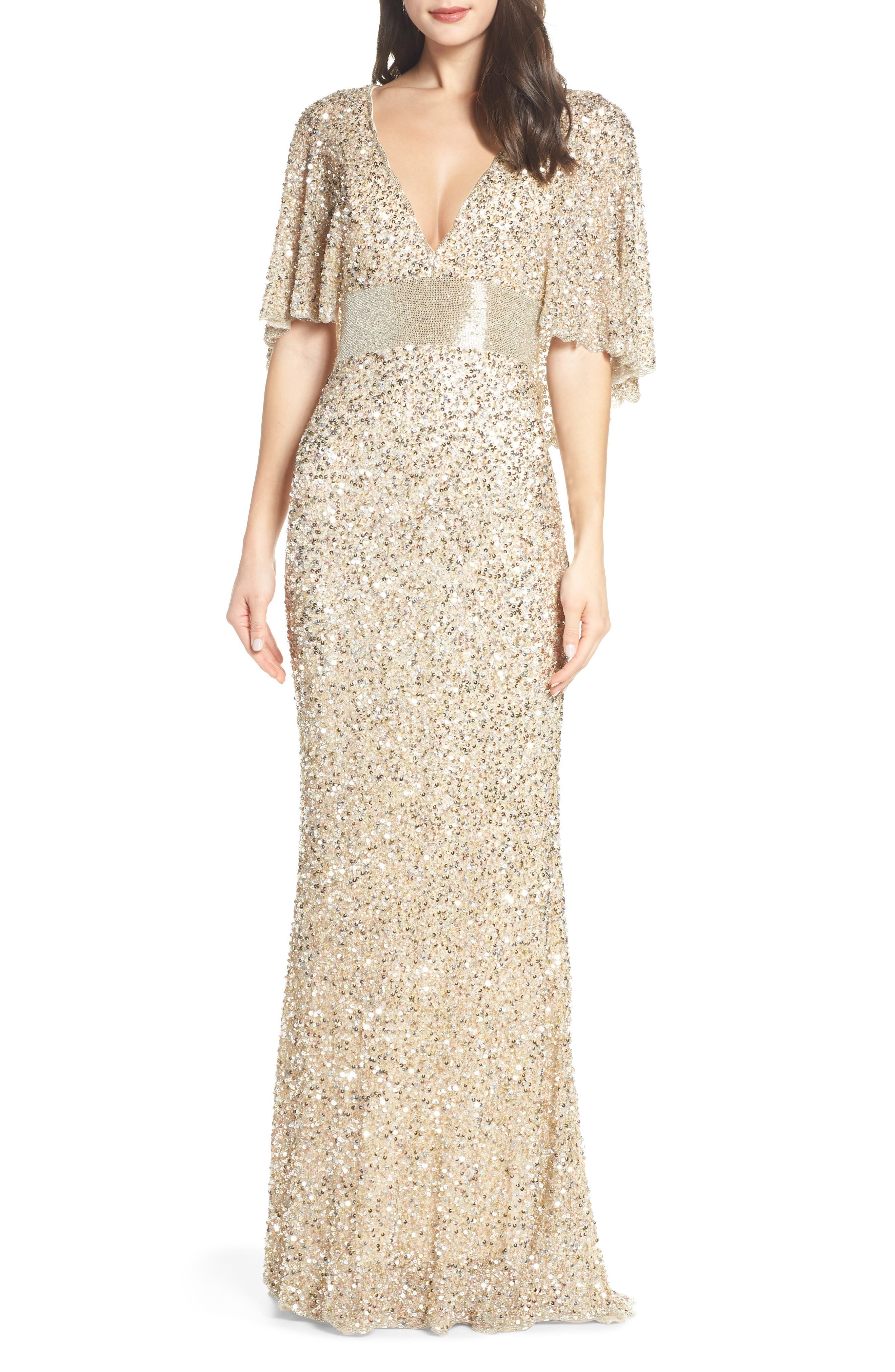 MAC DUGGAL, Beaded Capelet Sleeve Evening Dress, Main thumbnail 1, color, NUDE/ GOLD