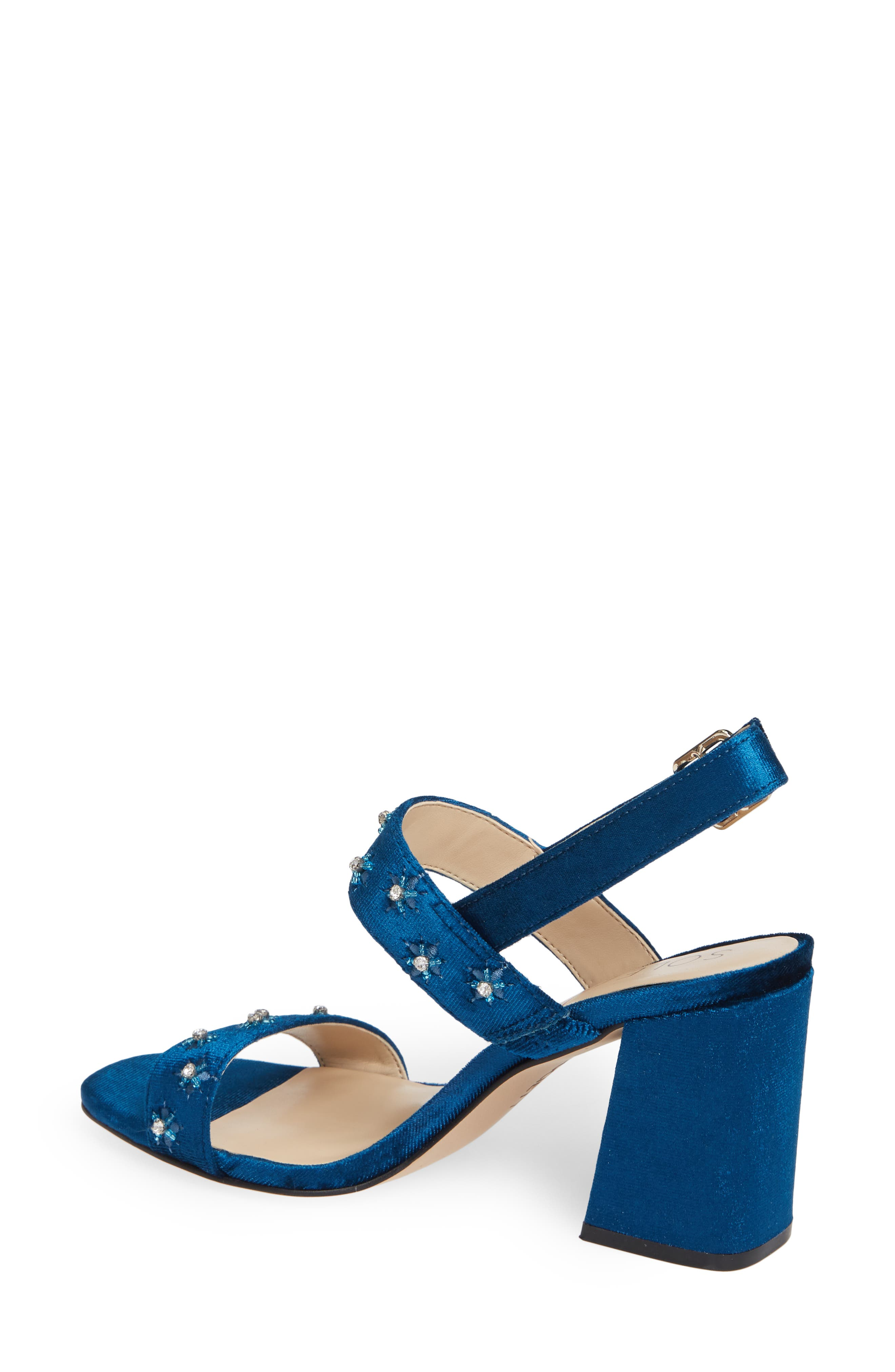 SOLE SOCIETY, Jessibel Sandal, Alternate thumbnail 2, color, CERULEAN BLUE VELVET