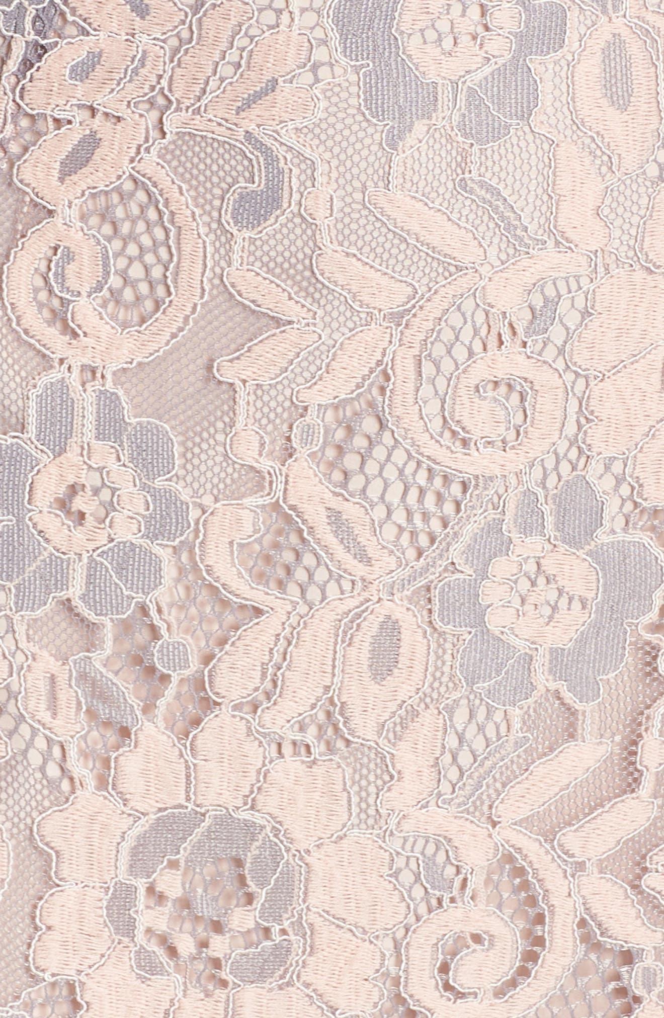 CHARLES HENRY, Lace Ruffle Hem Minidress, Alternate thumbnail 6, color, BLUSH LACE