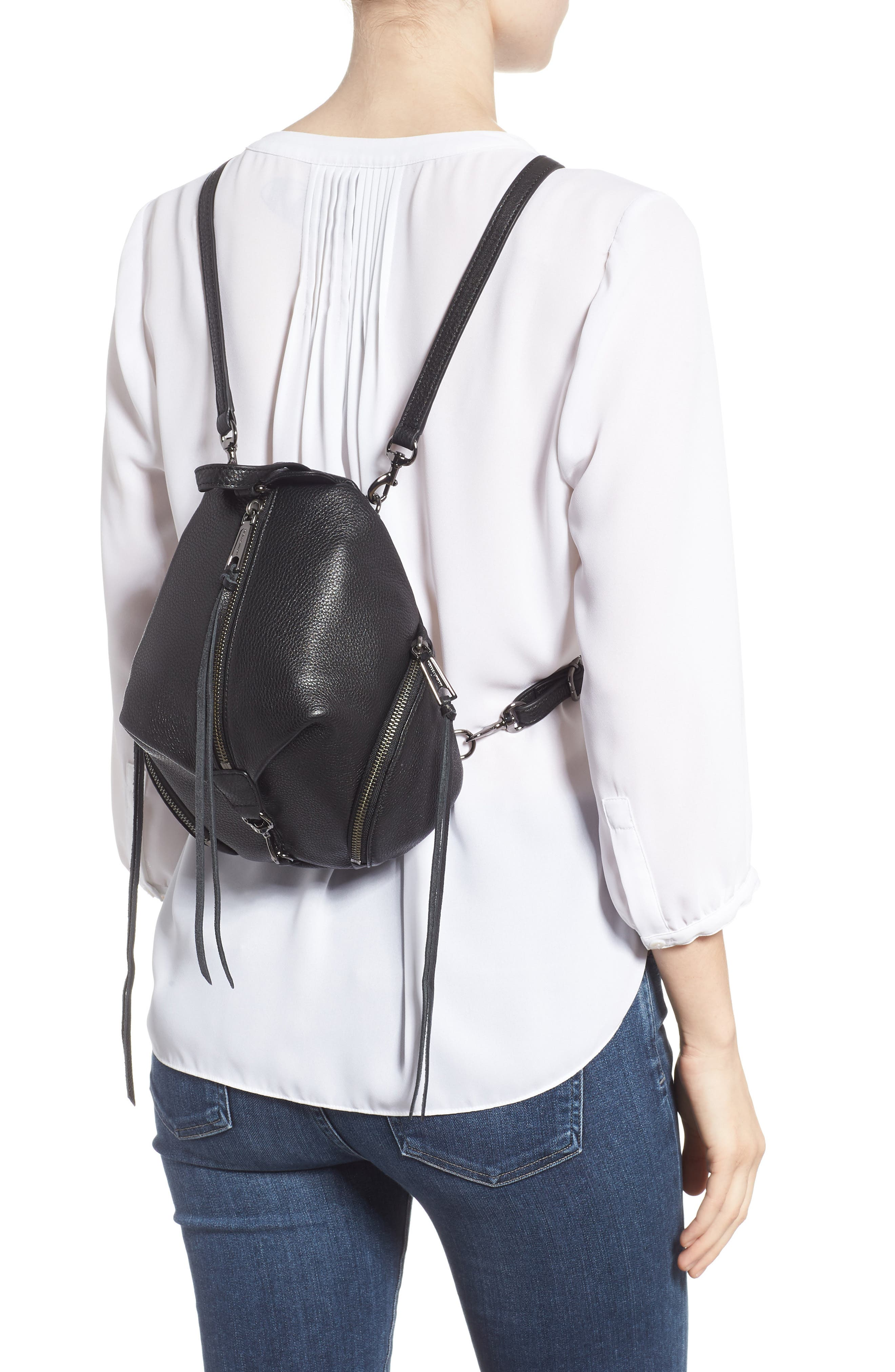 REBECCA MINKOFF, Mini Julian Pebbled Leather Convertible Backpack, Alternate thumbnail 4, color, BLACK