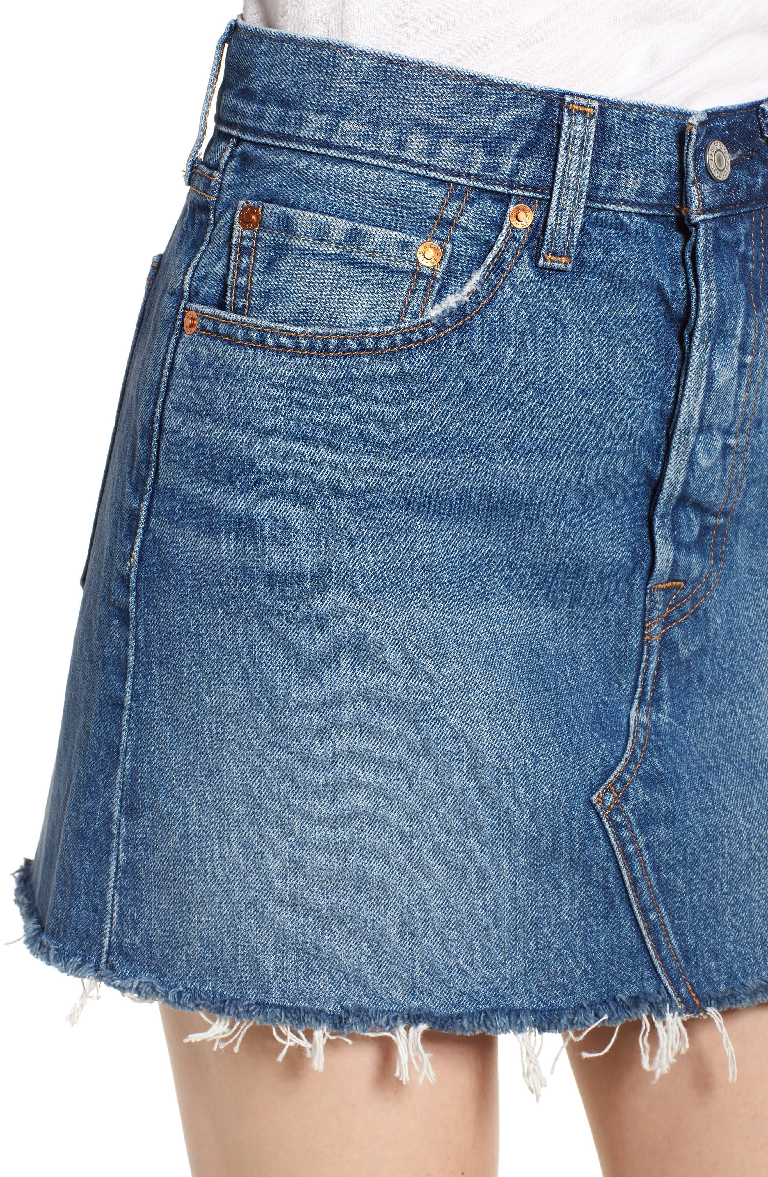 LEVI'S<SUP>®</SUP>, Deconstructed Denim Skirt, Alternate thumbnail 5, color, MIDDLE MAN