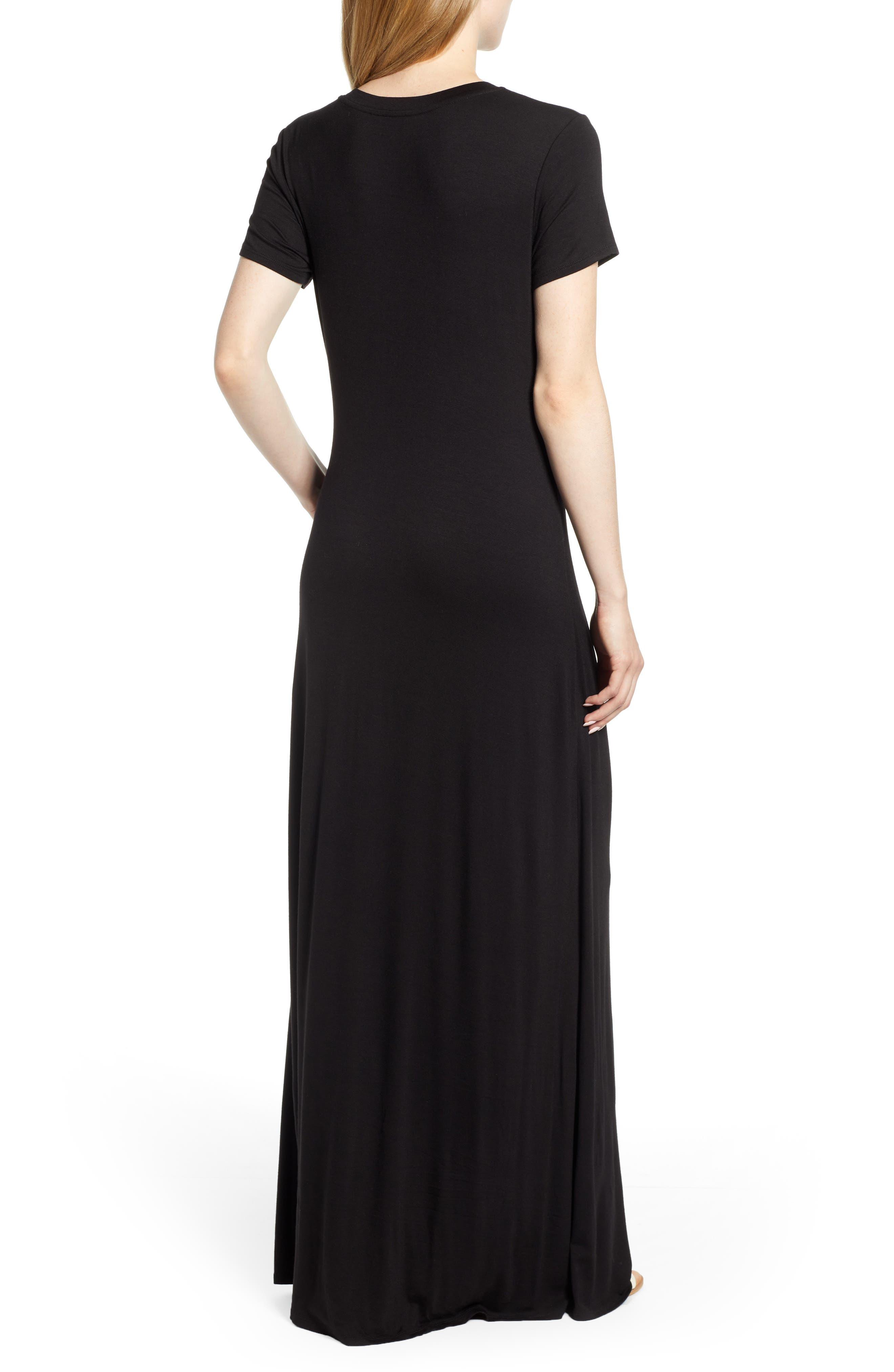 CASLON<SUP>®</SUP>, Front Gathered Maxi Dress, Alternate thumbnail 2, color, 001