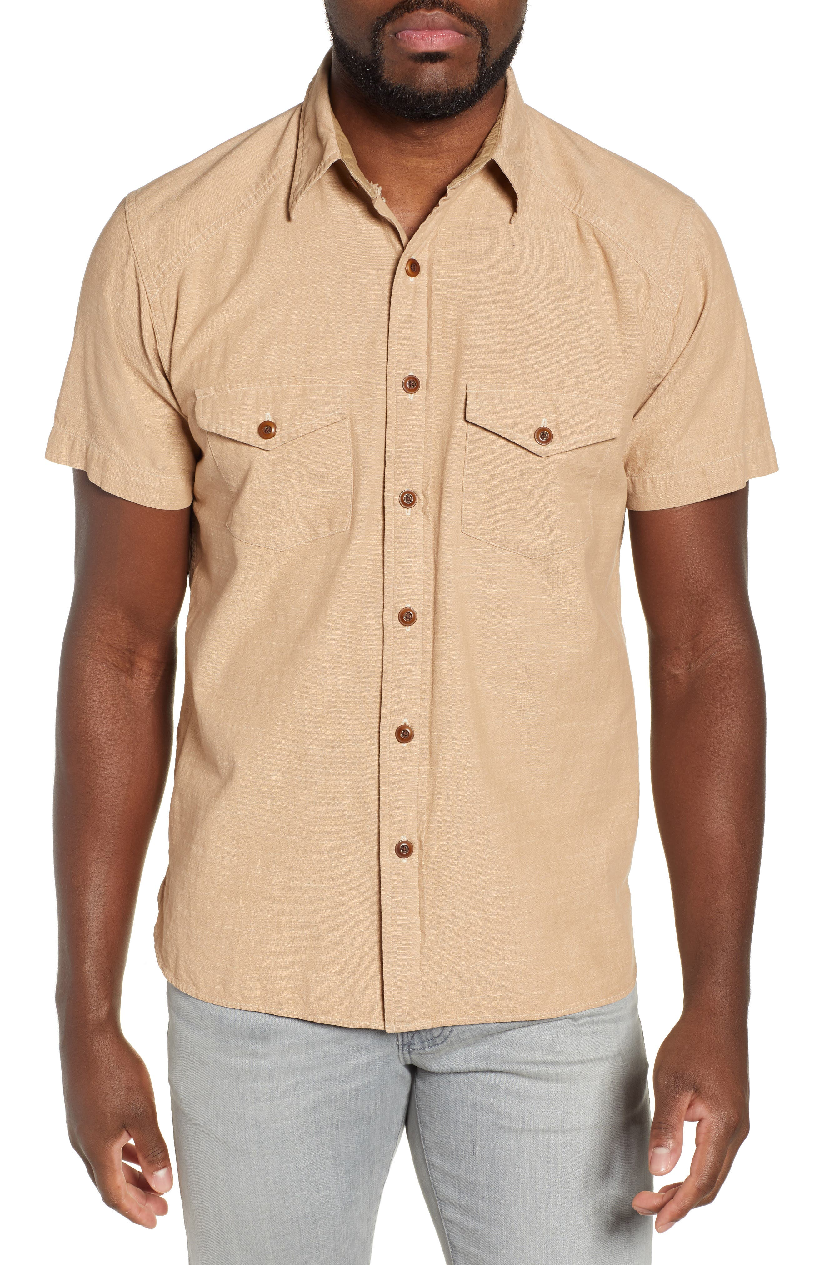 FRYE Addison Chambray Woven Shirt, Main, color, KRAFT BROWN