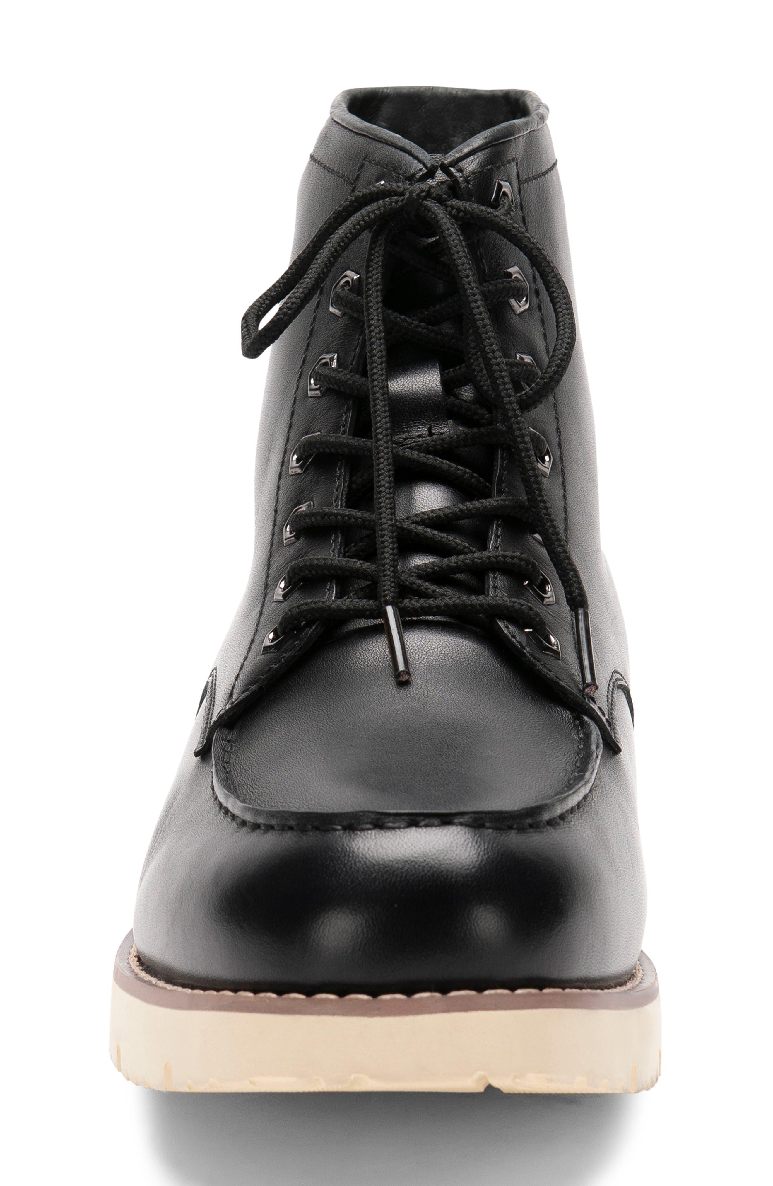BLONDO, Mario Waterproof Moc Toe Boot, Alternate thumbnail 4, color, BLACK LEATHER
