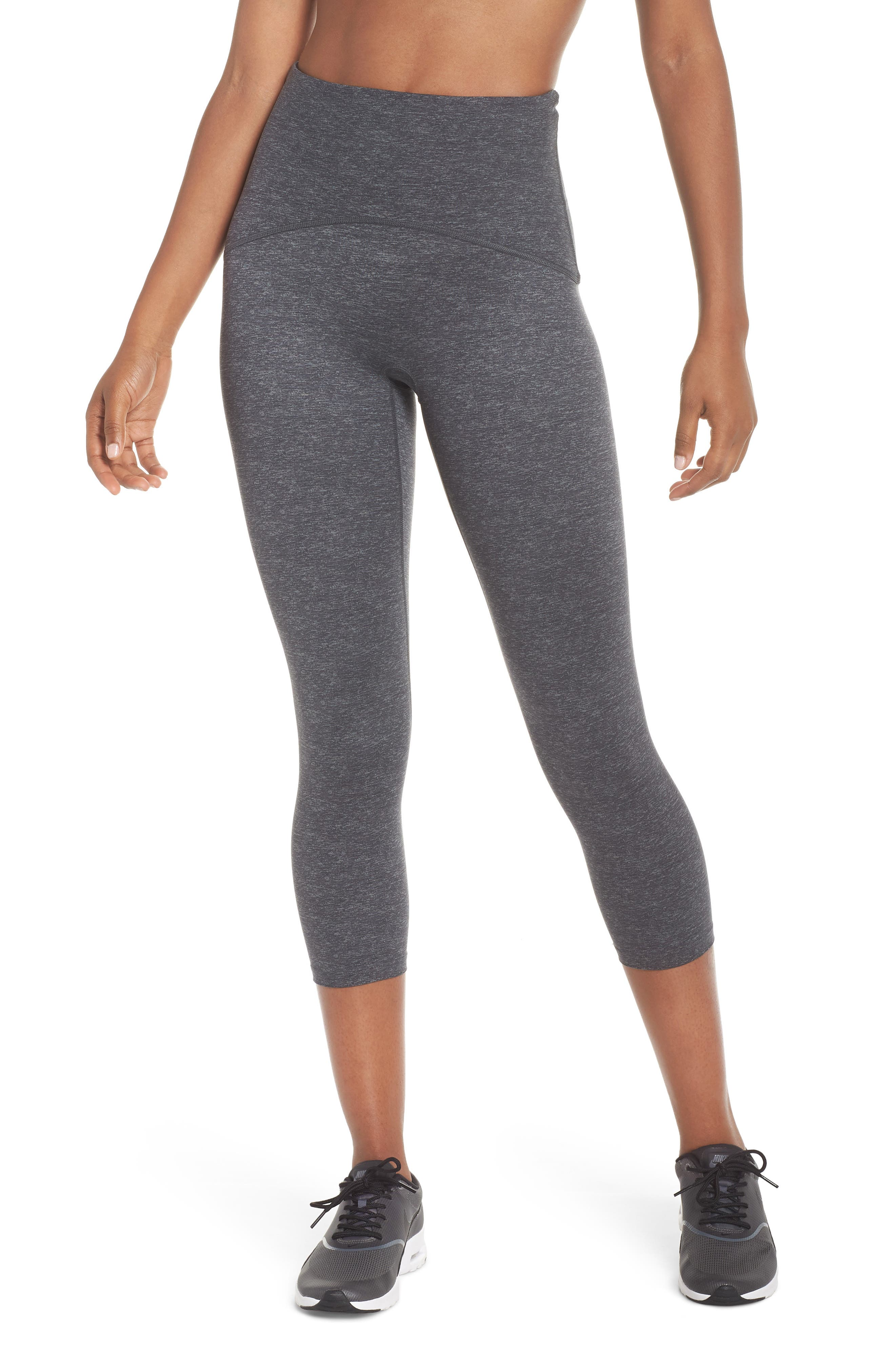 SPANX<SUP>®</SUP>, Active Print Crop Leggings, Main thumbnail 1, color, MARLED HEATHER