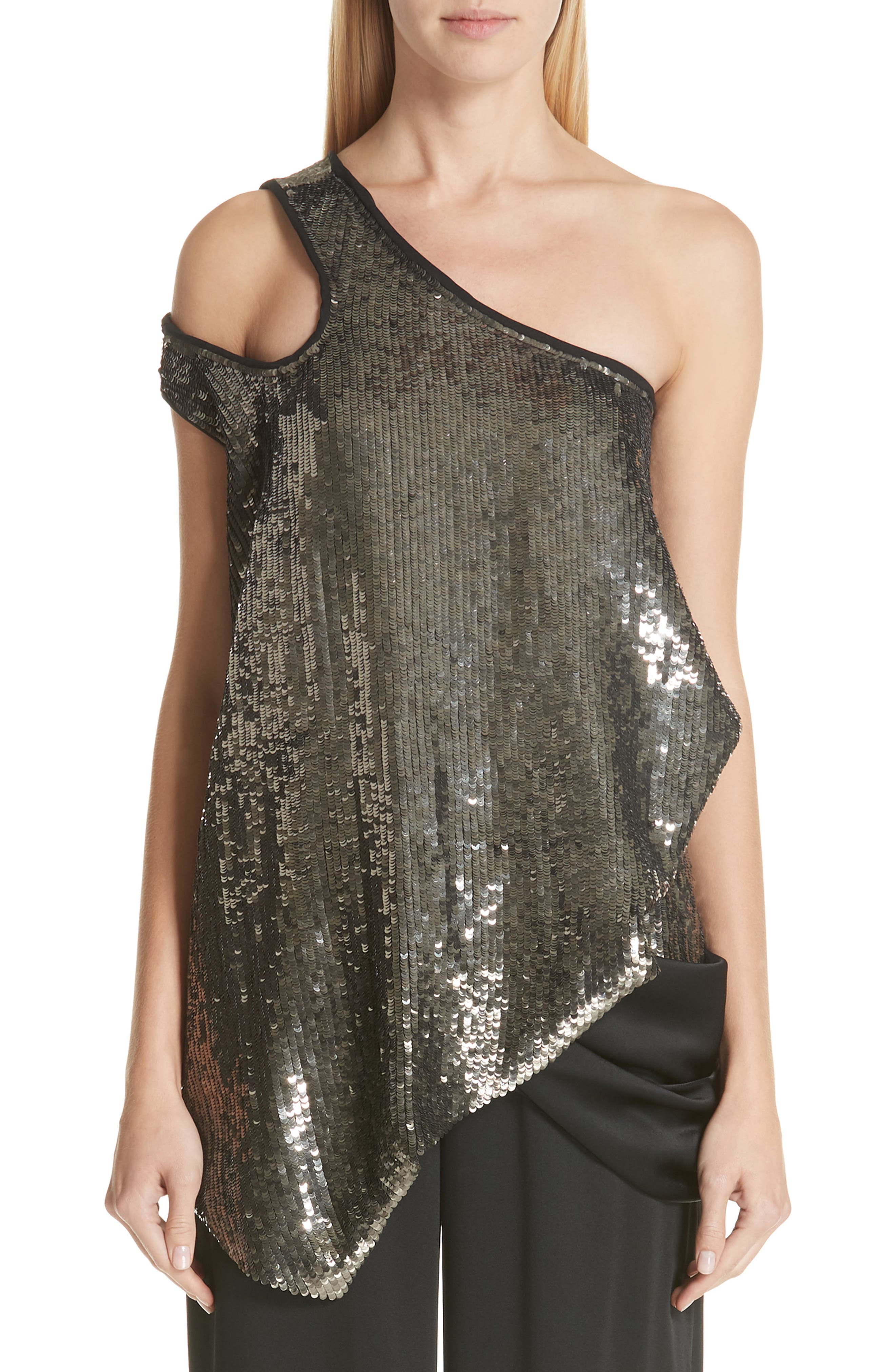 MONSE, Cutout Shoulder Sequin Tank, Main thumbnail 1, color, GUN METAL