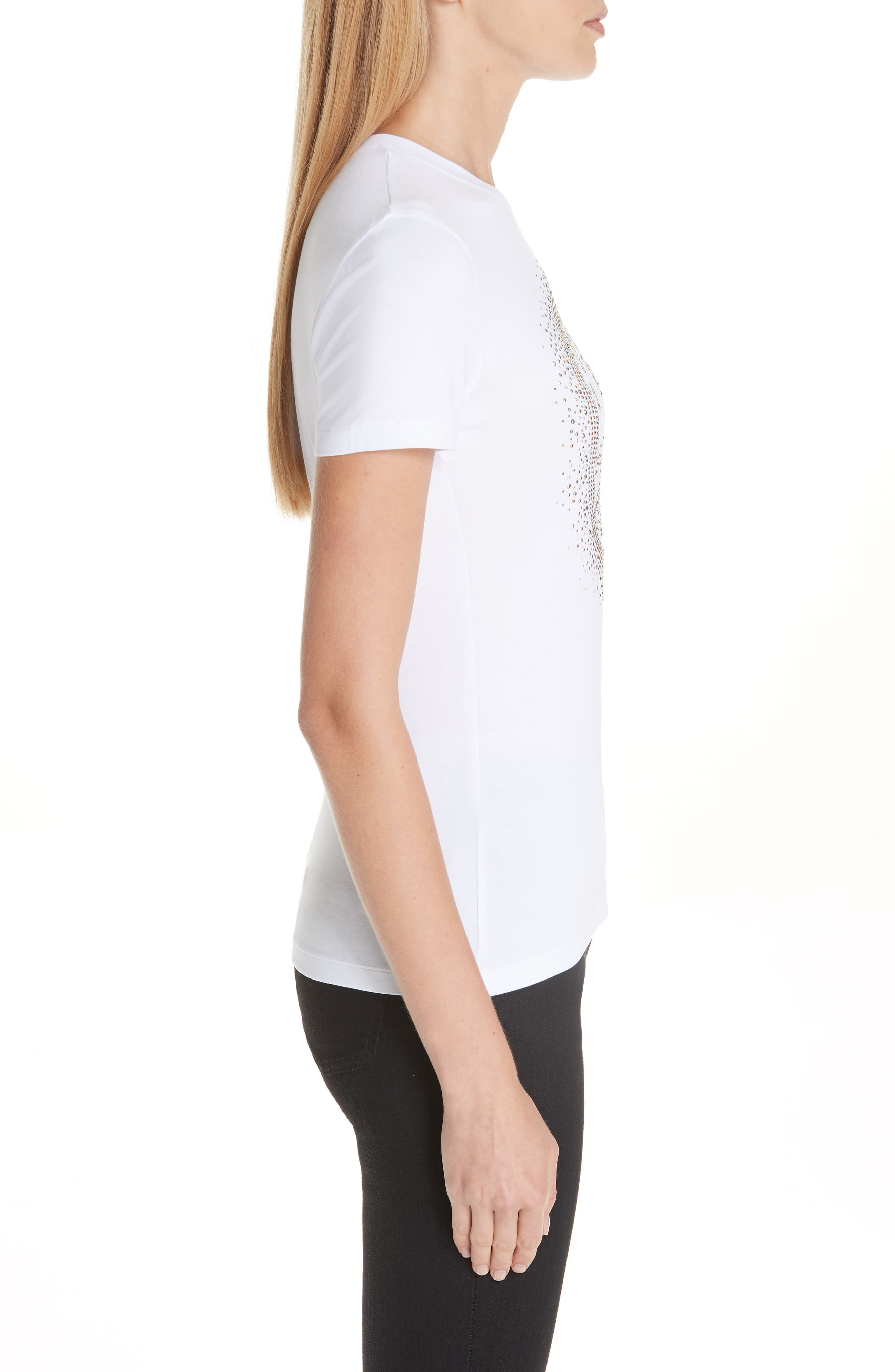 VERSACE COLLECTION, Medusa Crystal Embellished Jersey Tee, Alternate thumbnail 3, color, 111