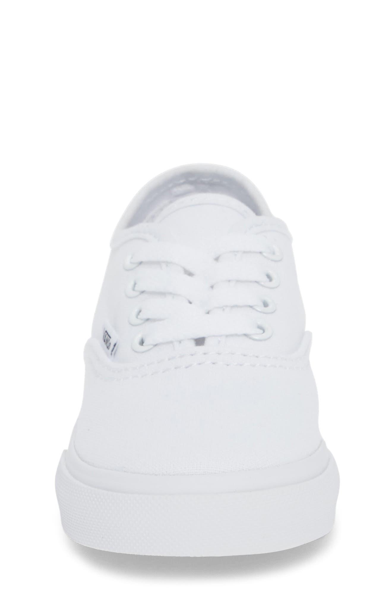 VANS, 'Authentic' Sneaker, Alternate thumbnail 4, color, TRUE WHITE/ WHITE