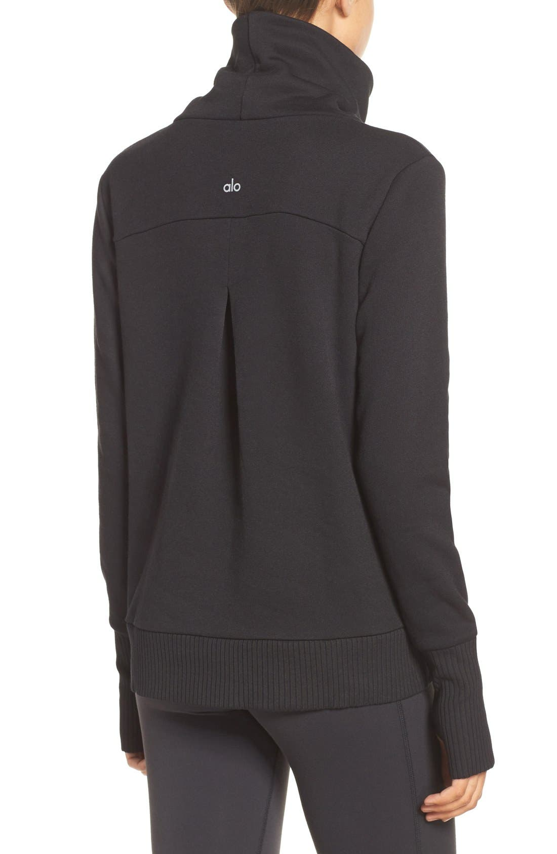 ALO, 'Haze' Funnel Neck Sweatshirt, Alternate thumbnail 4, color, 001