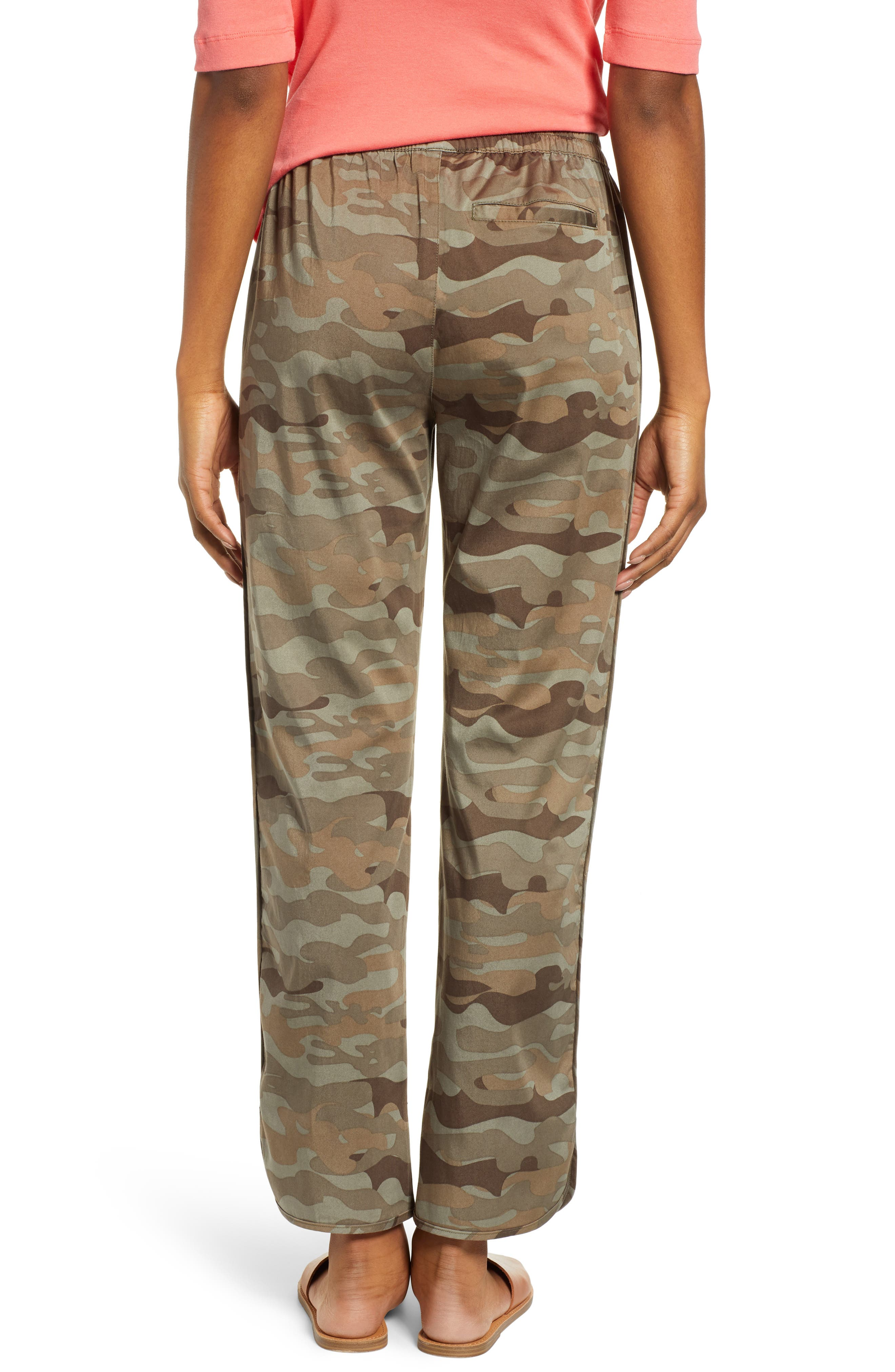CASLON<SUP>®</SUP>, Sandwashed Pull-On Pants, Alternate thumbnail 2, color, OLIVE FADED LARGE CAMO PRINT