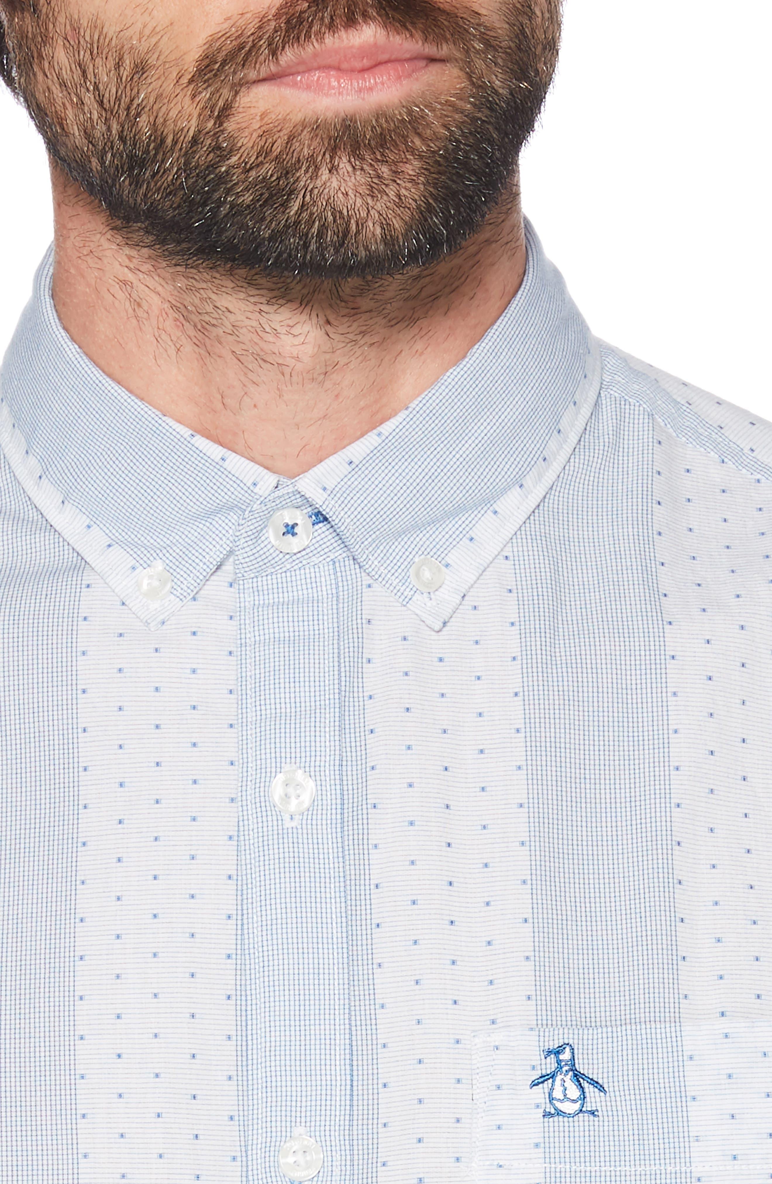 ORIGINAL PENGUIN, Square Dobby Stripe Shirt, Alternate thumbnail 2, color, BRIGHT WHITE