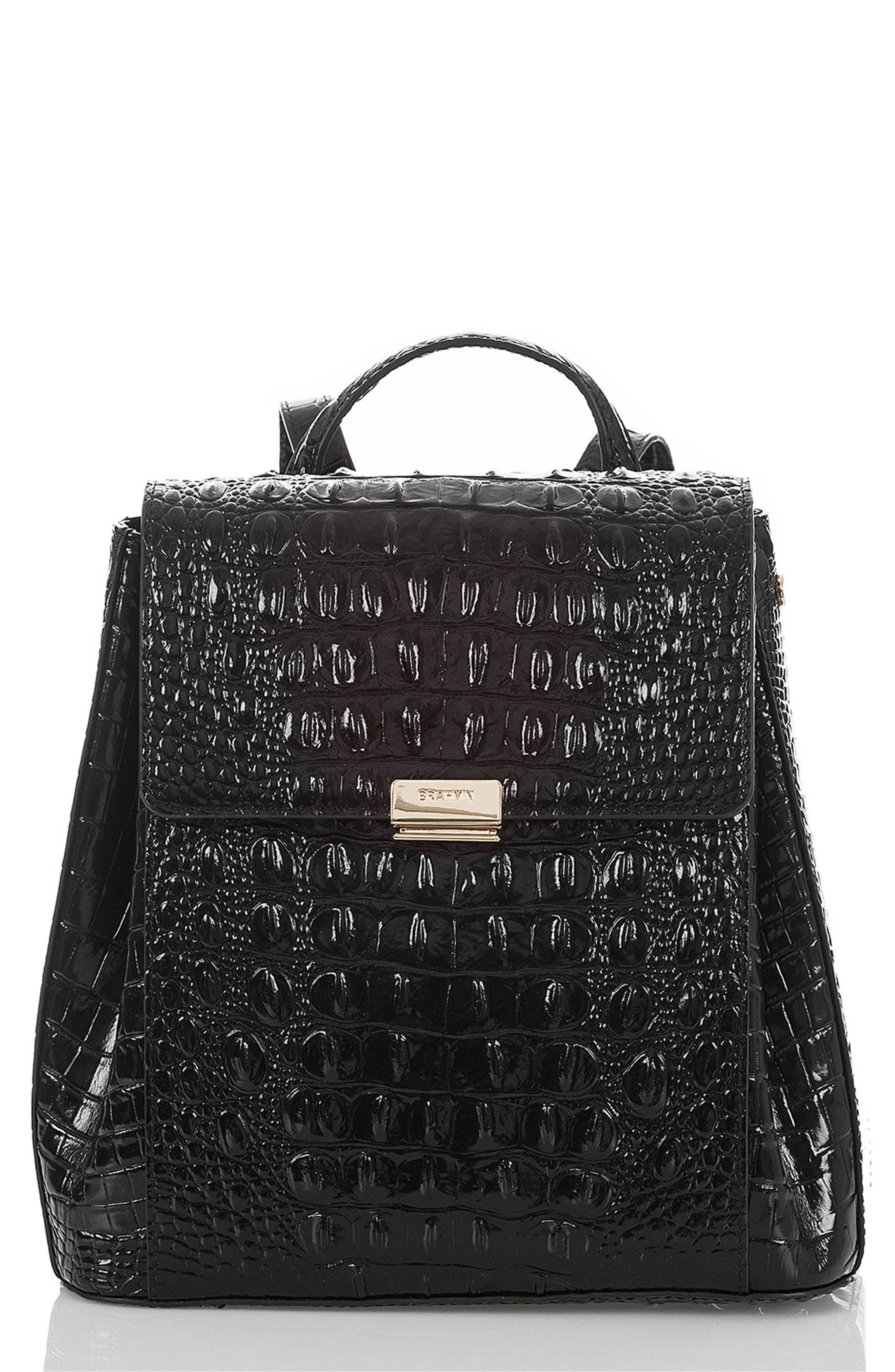 BRAHMIN Margo Croc Embossed Leather Backpack, Main, color, BLACK MELBOURNE