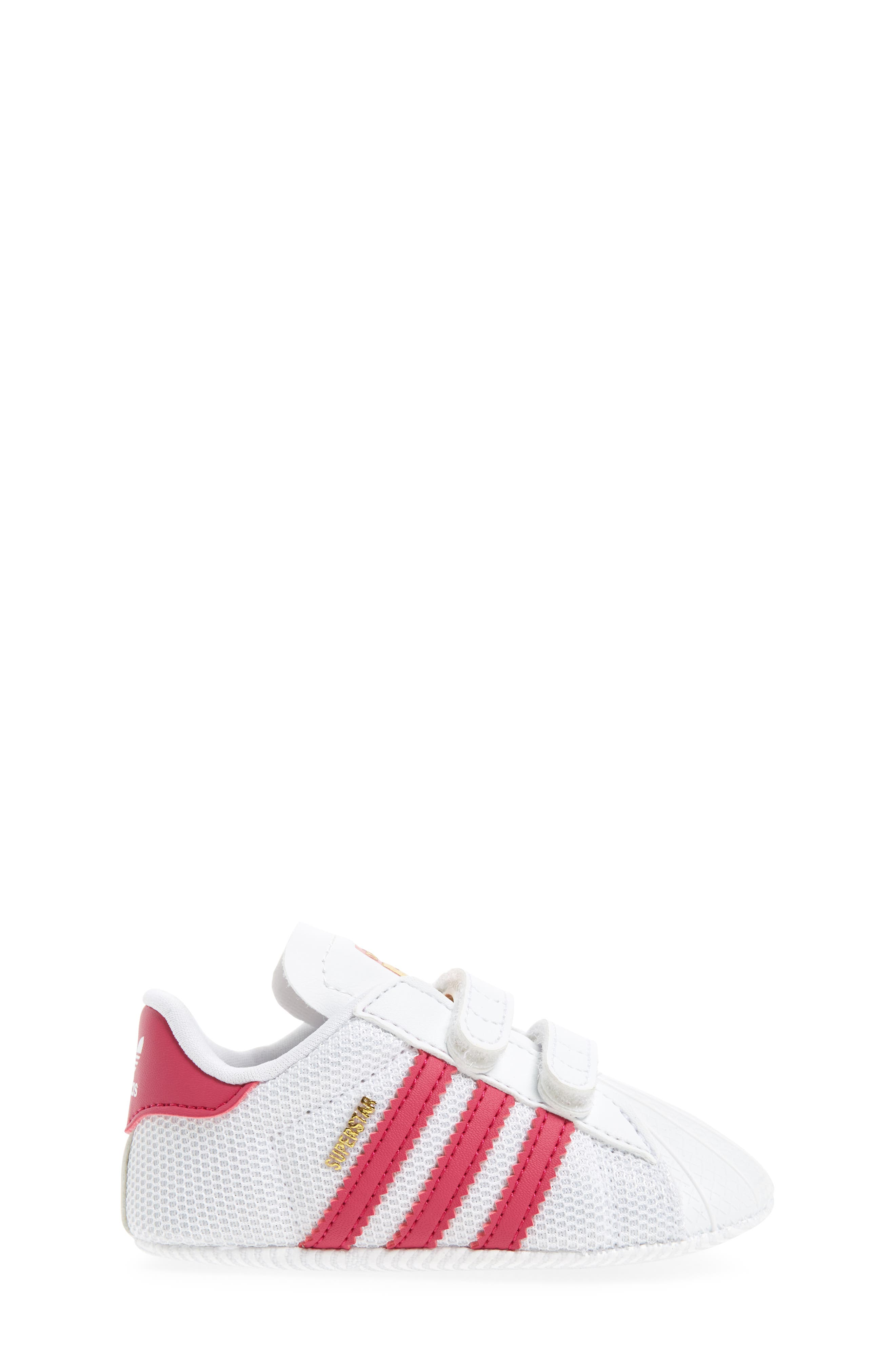 ADIDAS, Superstar Sneaker, Alternate thumbnail 3, color, WHITE/ PINK