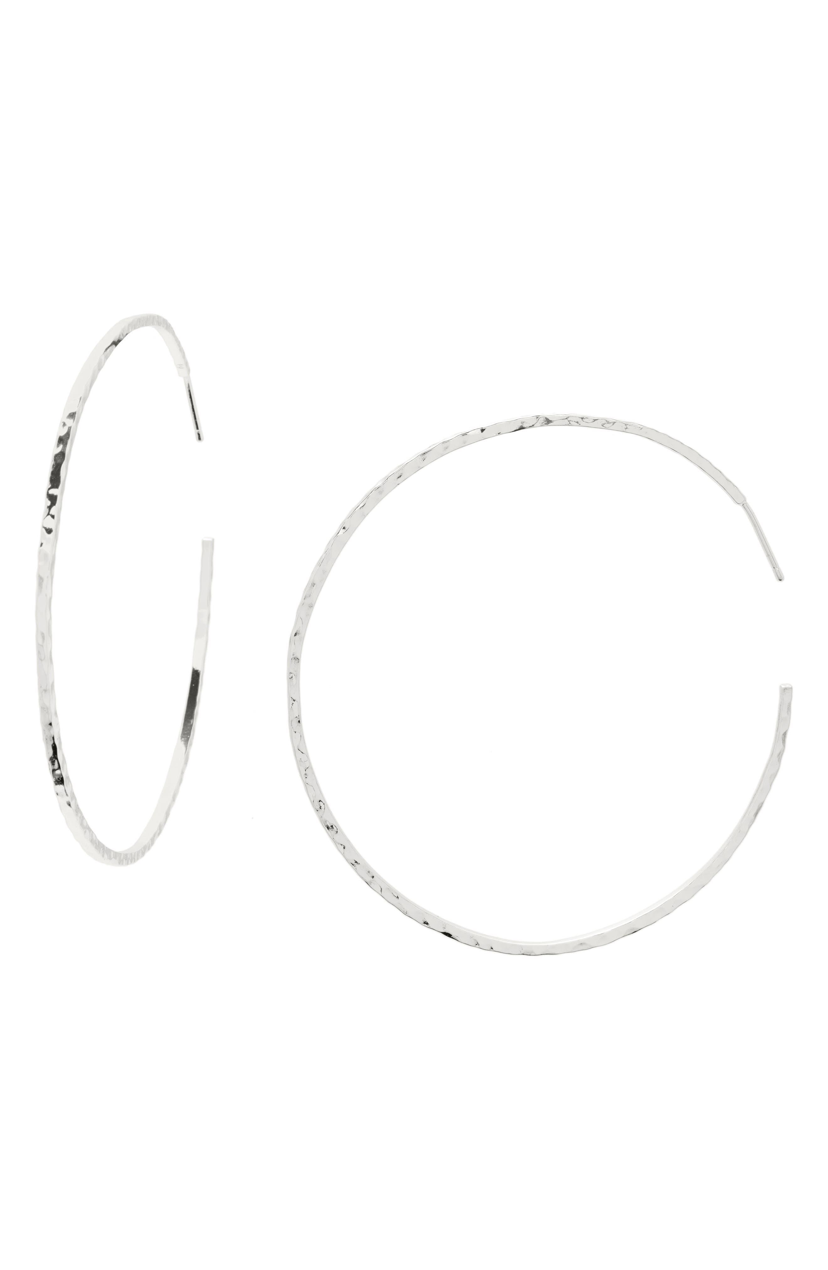 GORJANA, Taner Extra Large Hoop Earrings, Main thumbnail 1, color, SILVER