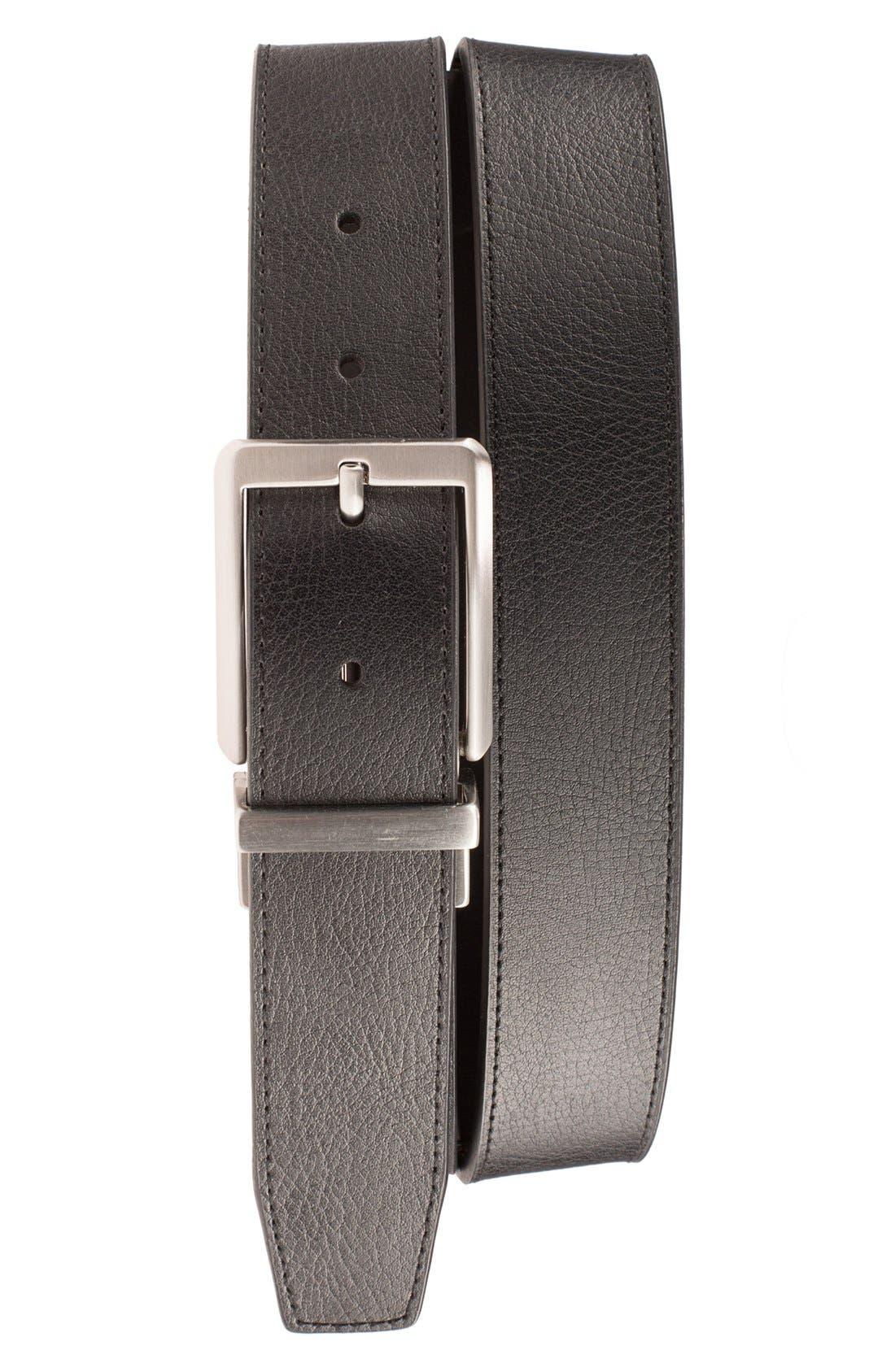 NIKE, 'Core' Reversible Leather Belt, Main thumbnail 1, color, BLACK/ BROWN