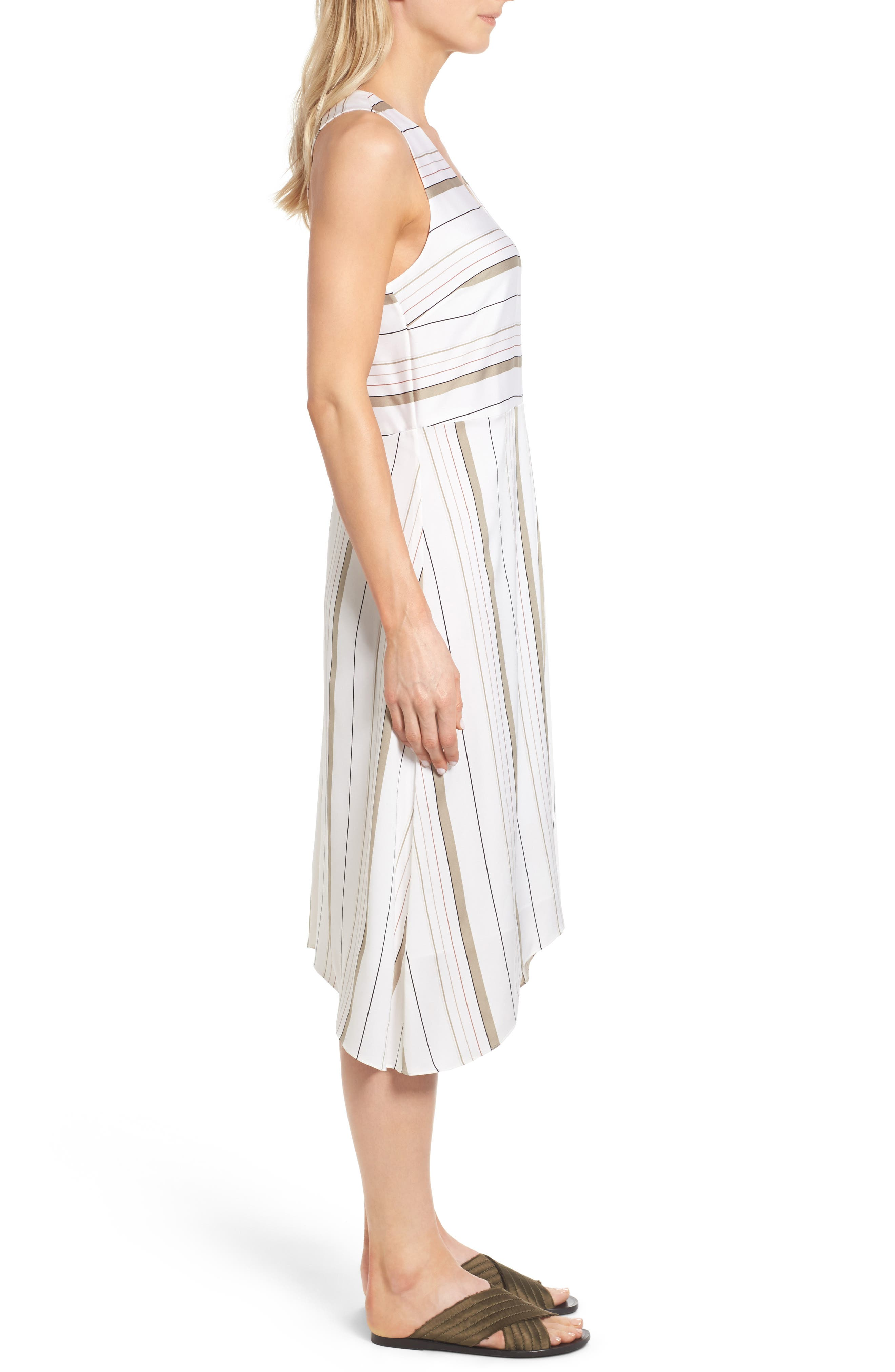 NORDSTROM COLLECTION, Stripe Stretch Silk Dress, Alternate thumbnail 3, color, 900