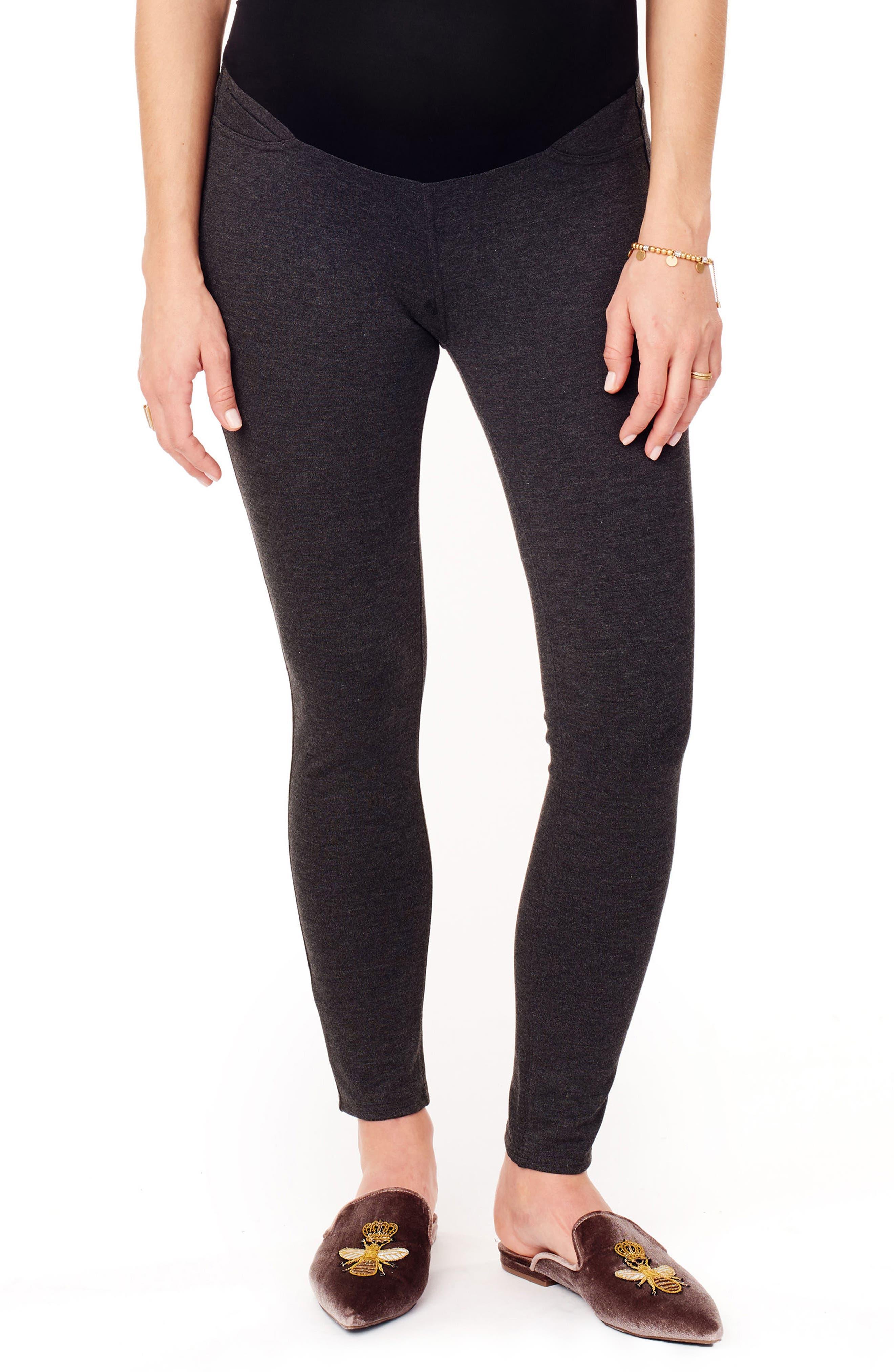 INGRID & ISABEL<SUP>®</SUP> Ponte Knit Skinny Maternity Ankle Leggings, Main, color, HEATHER GREY