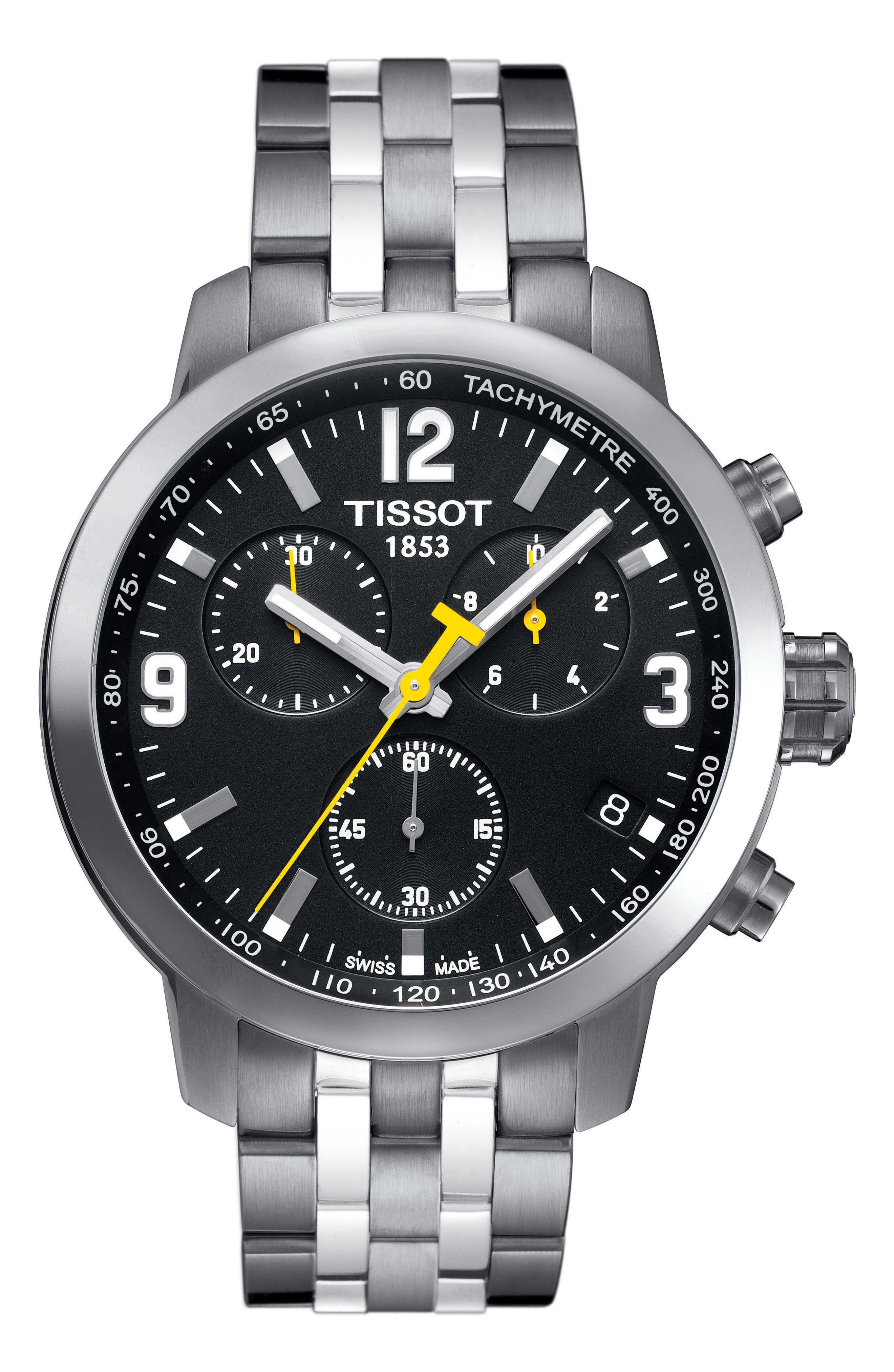 TISSOT, PRC200 Chronograph Bracelet Watch, 42mm, Main thumbnail 1, color, SILVER/ BLACK/ SILVER