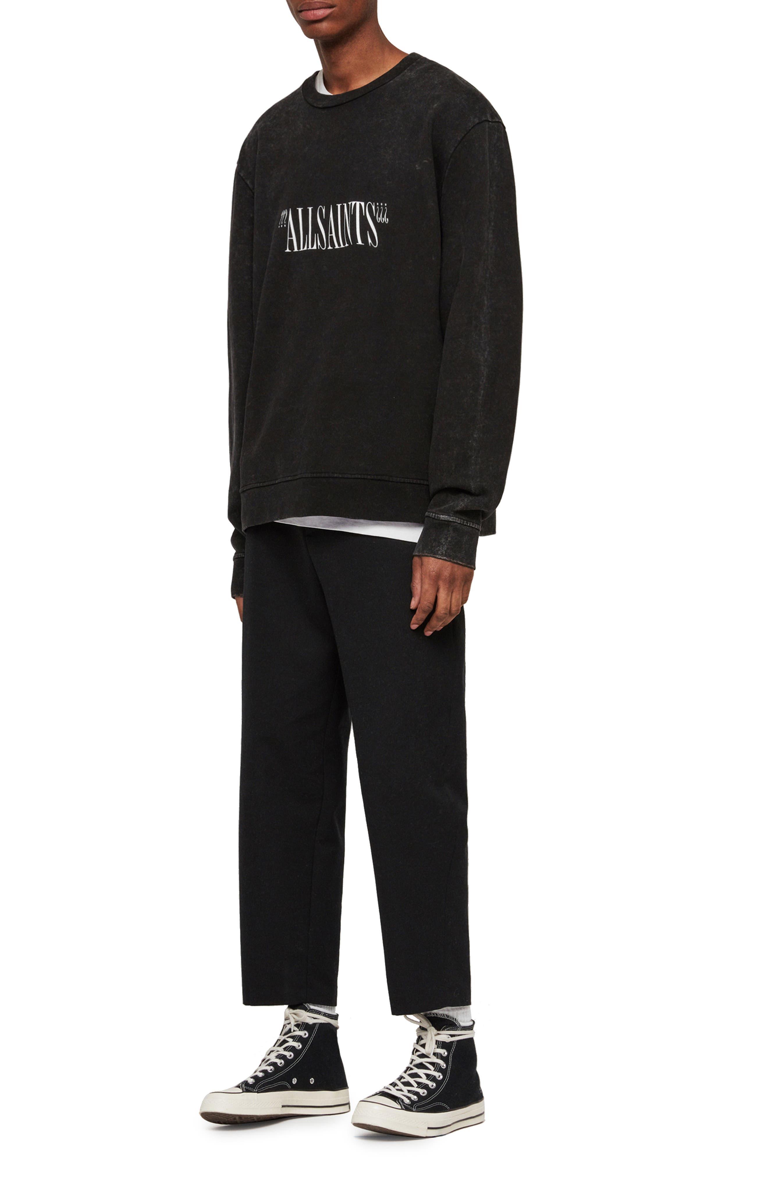 ALLSAINTS, Brackets Logo Graphic Fleece Sweatshirt, Alternate thumbnail 4, color, ACID WASHED BLACK