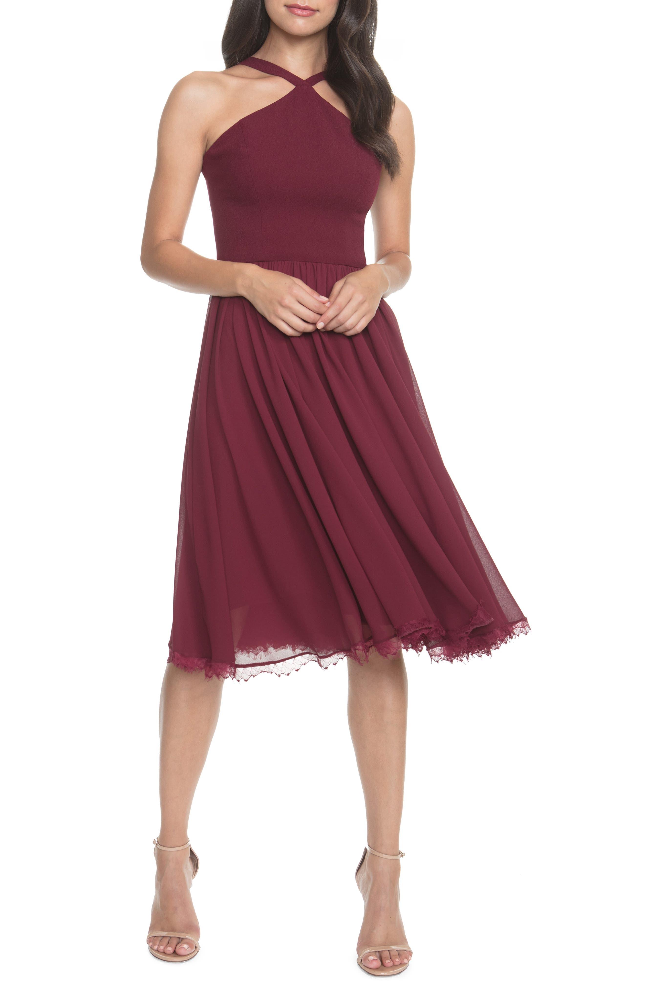 Dress The Population Dakota Crepe Chiffon Cocktail Dress