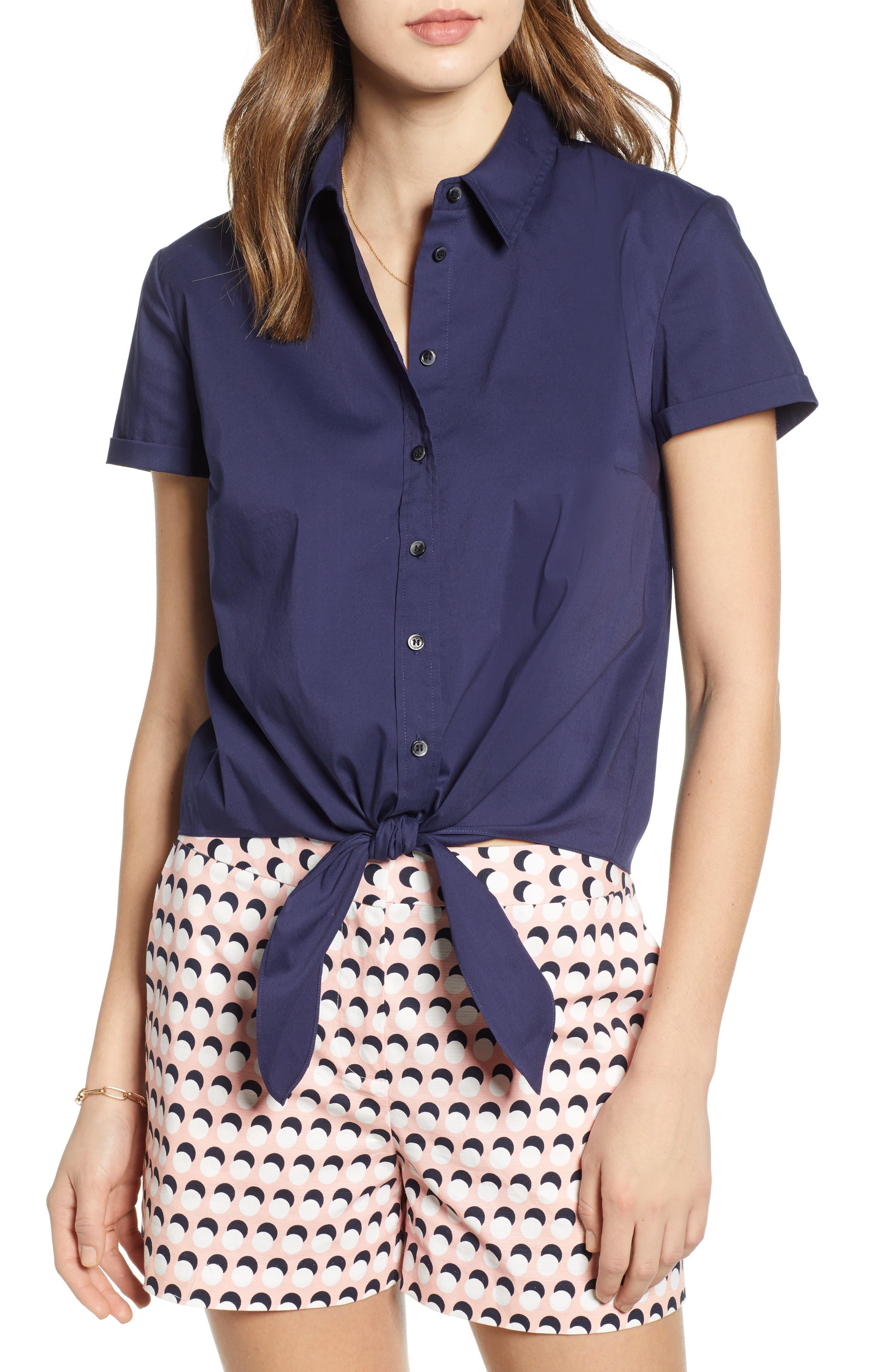 1901 Tie Front Poplin Shirt, Main, color, NAVY PEACOAT