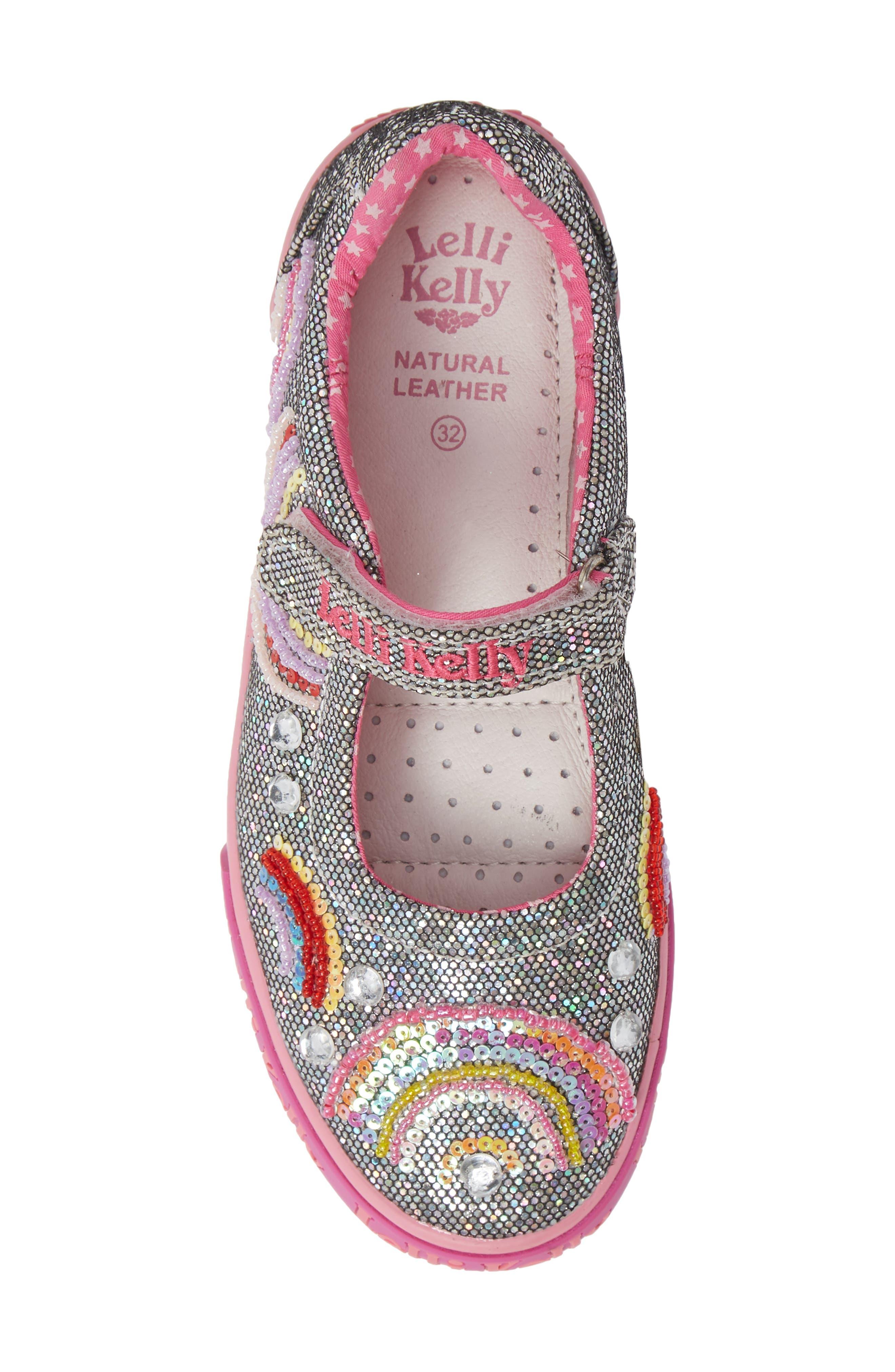 LELLI KELLY, Beaded Rainbow Mary Jane Sneaker, Alternate thumbnail 5, color, PEWTER