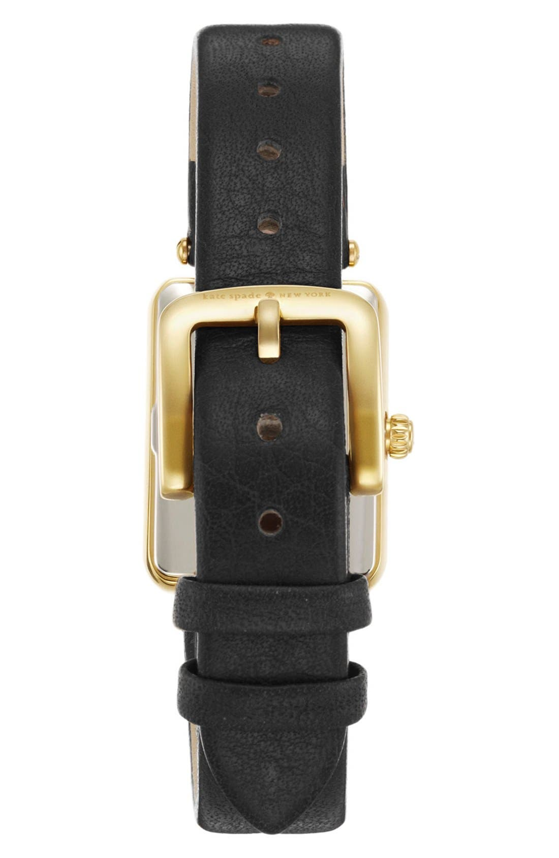 KATE SPADE NEW YORK, 'paley' rectangular leather strap watch, 21mm x 28mm, Alternate thumbnail 2, color, 001
