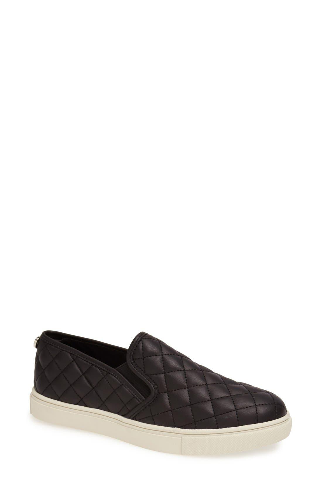STEVE MADDEN, Ecentrcq Sneaker, Main thumbnail 1, color, BLACK FAUX LEATHER