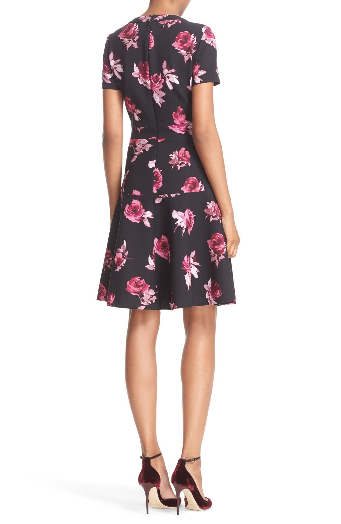 KATE SPADE NEW YORK, 'encore rose' crepe fit & flare dress, Alternate thumbnail 3, color, 001