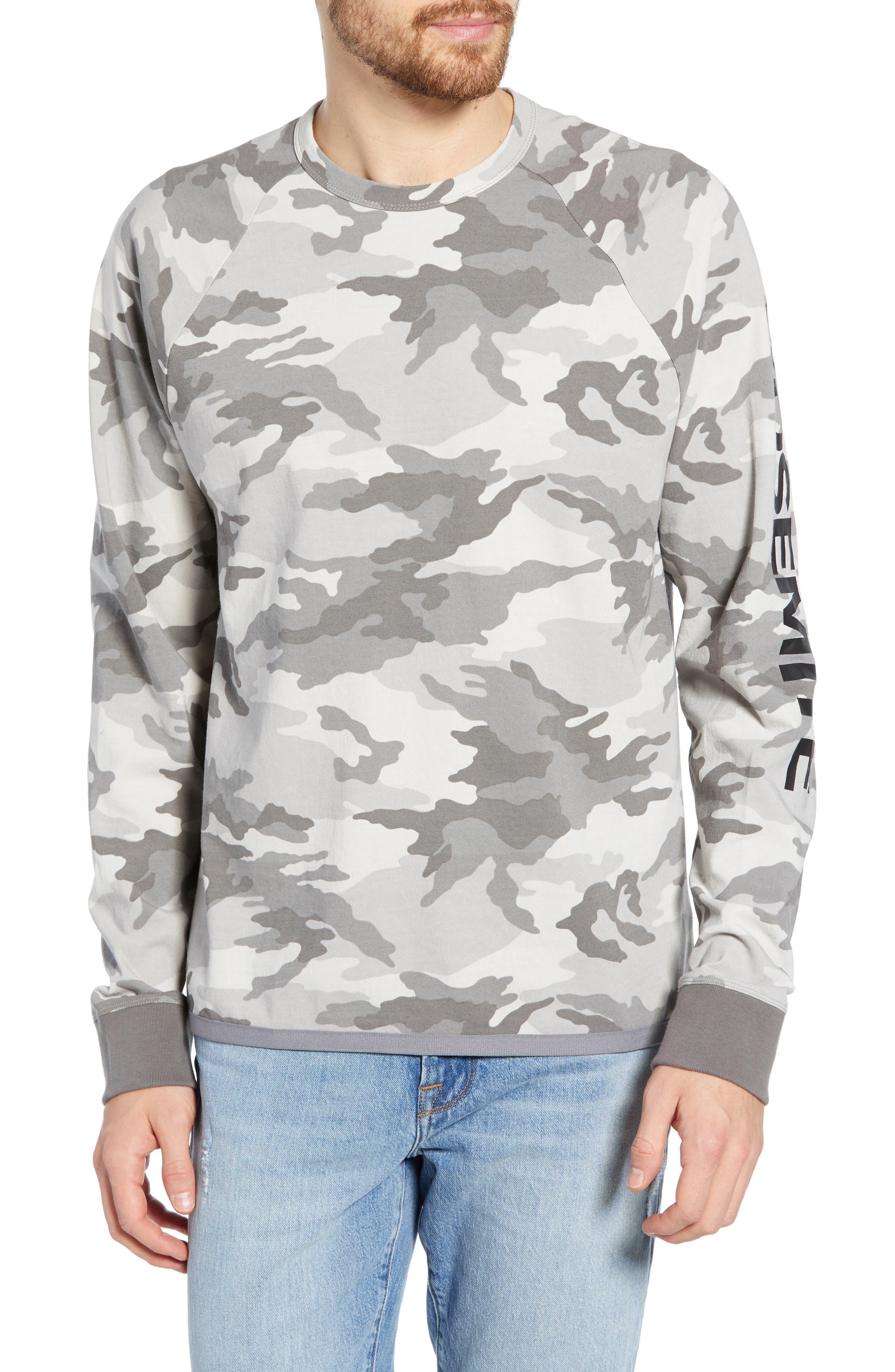 JAMES PERSE Long Sleeve Yosemite Camo Sweatshirt, Main, color, MIST CAMO