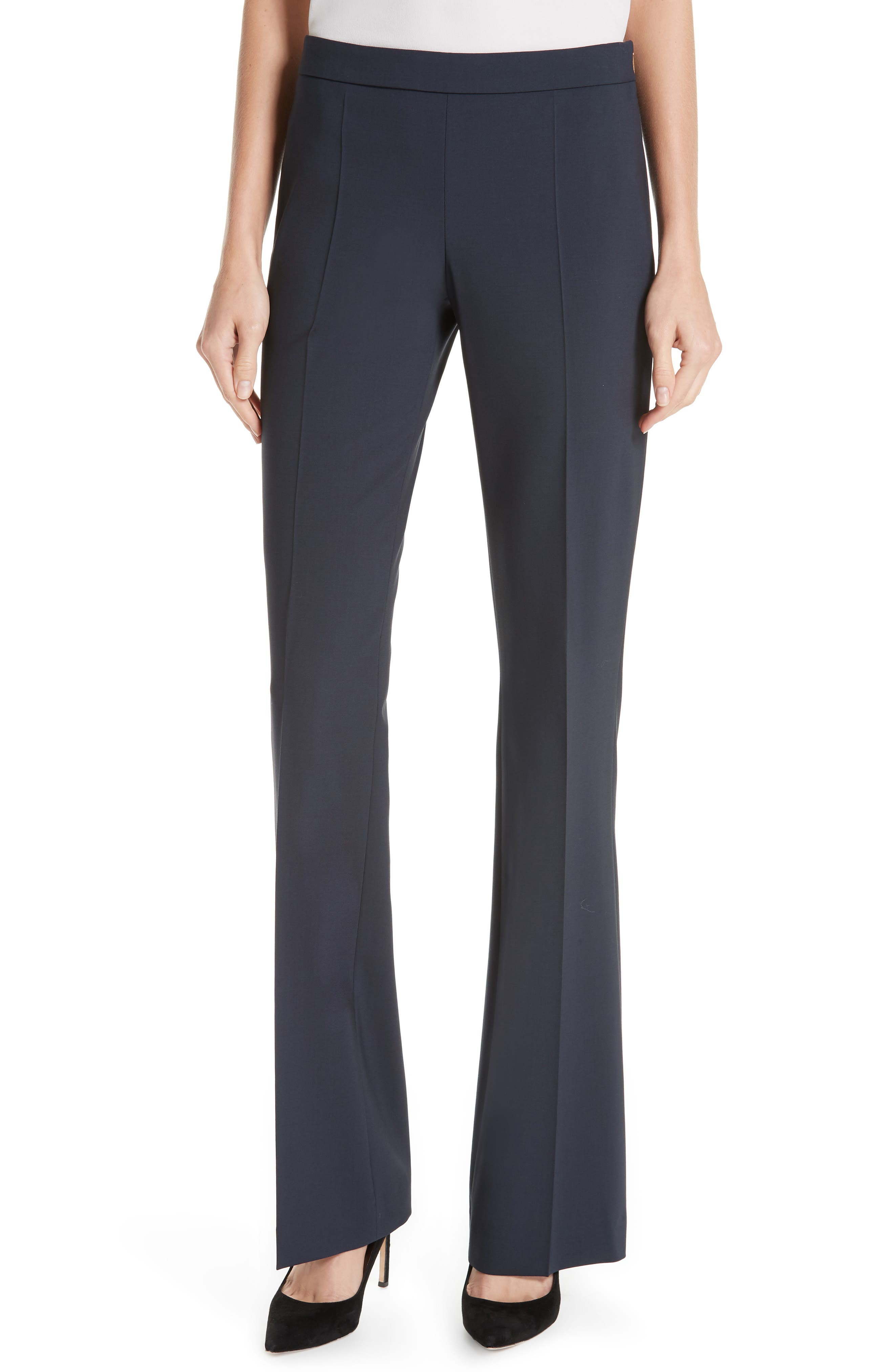 BOSS, Tulea Side Zip Tropical Stretch Wool Trousers, Main thumbnail 1, color, NAVY
