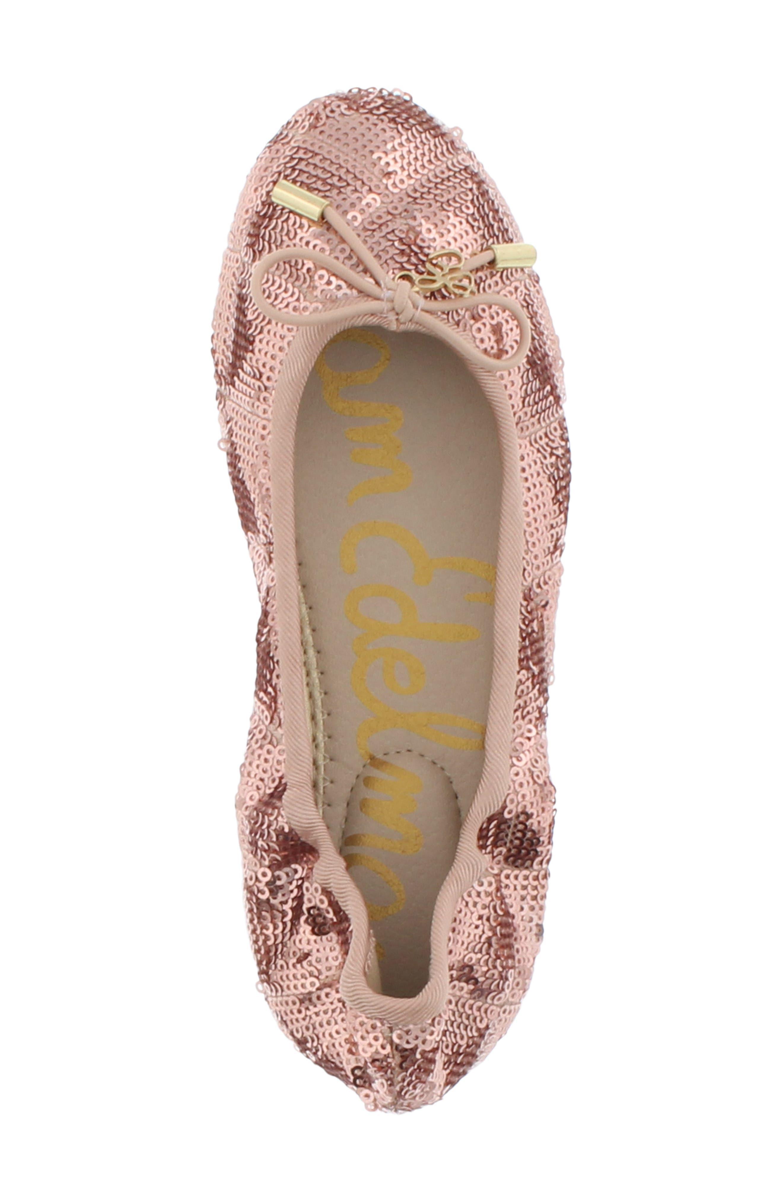 SAM EDELMAN, Felicia Sequin Ballet Flat, Alternate thumbnail 5, color, ROSE GOLD