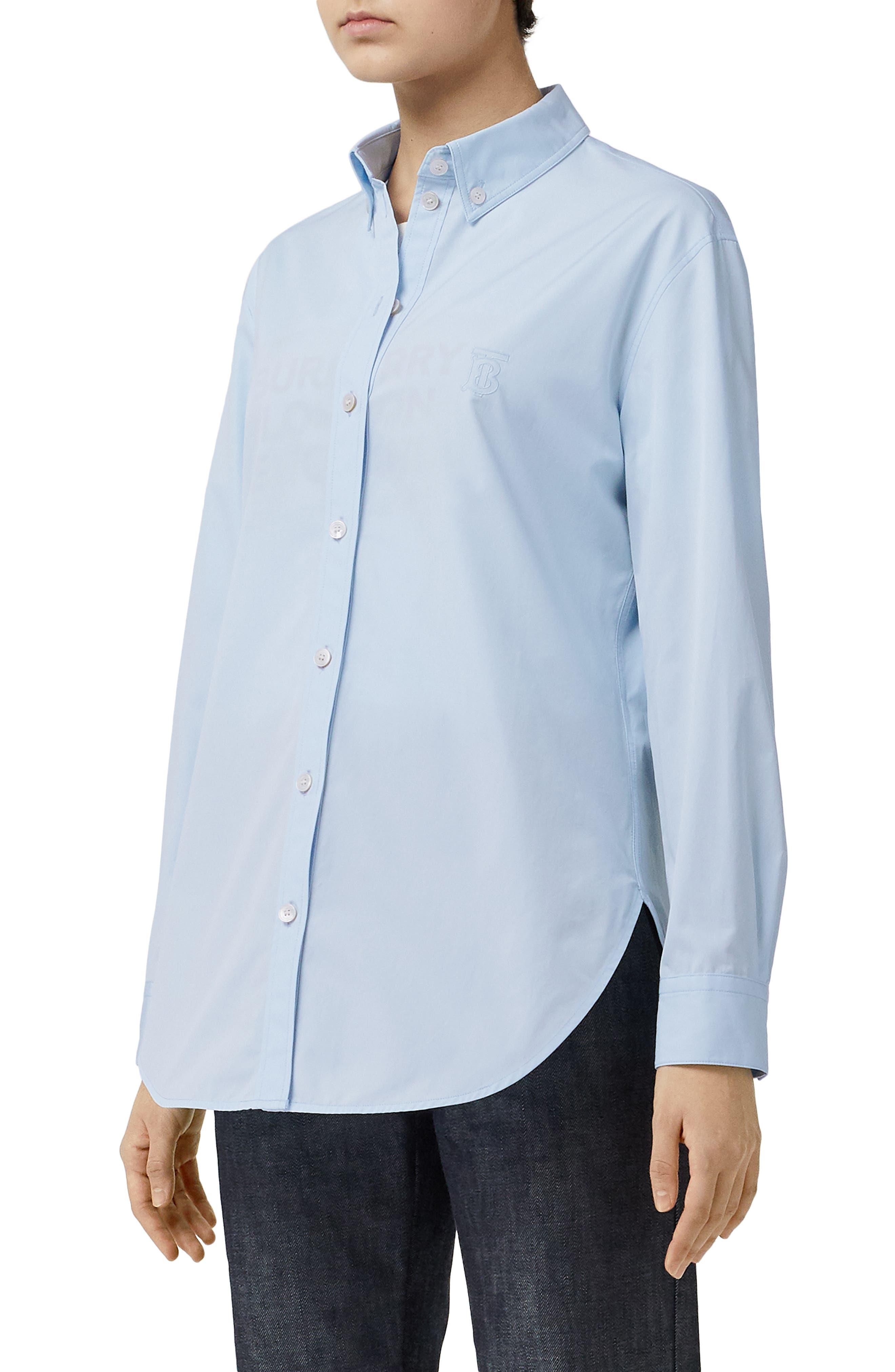 BURBERRY, Monogram Regular Fit Cotton Shirt, Alternate thumbnail 3, color, PALE BLUE