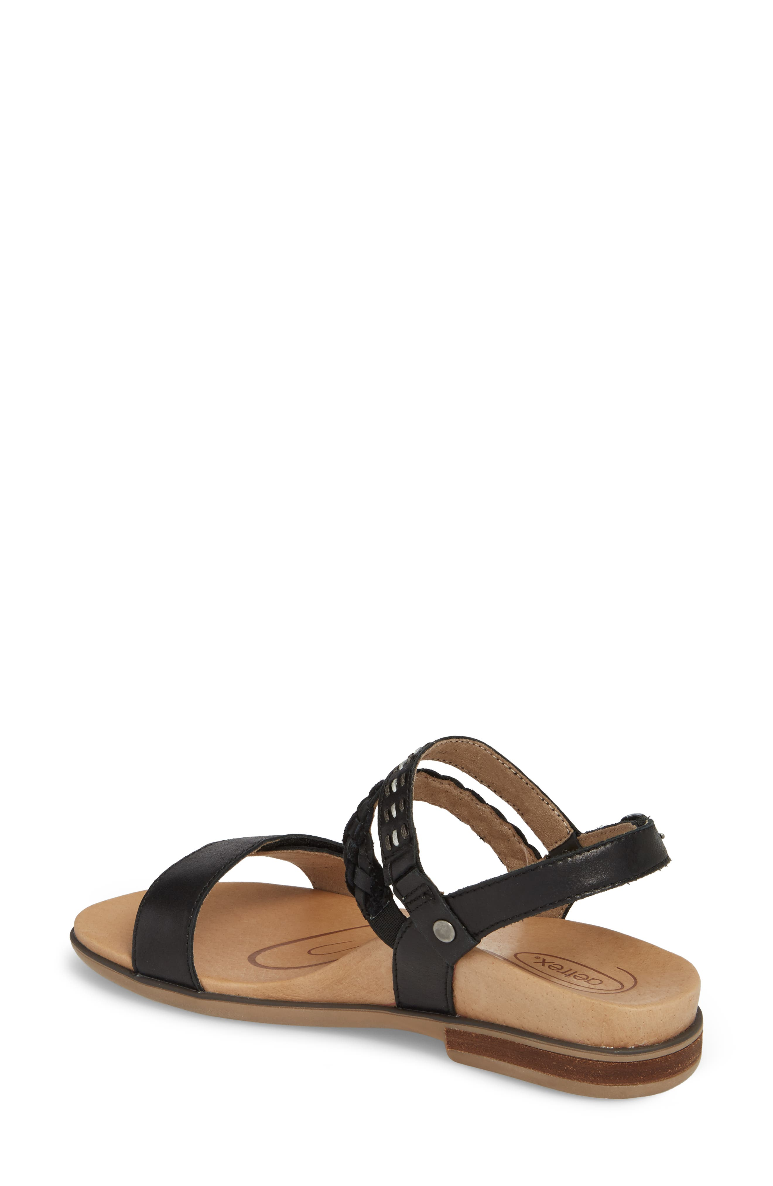 AETREX, Celeste Sandal, Alternate thumbnail 2, color, BLACK LEATHER