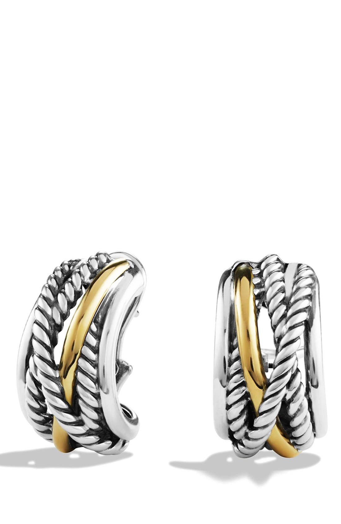 DAVID YURMAN, 'Crossover' Earrings with Gold, Main thumbnail 1, color, TWO TONE