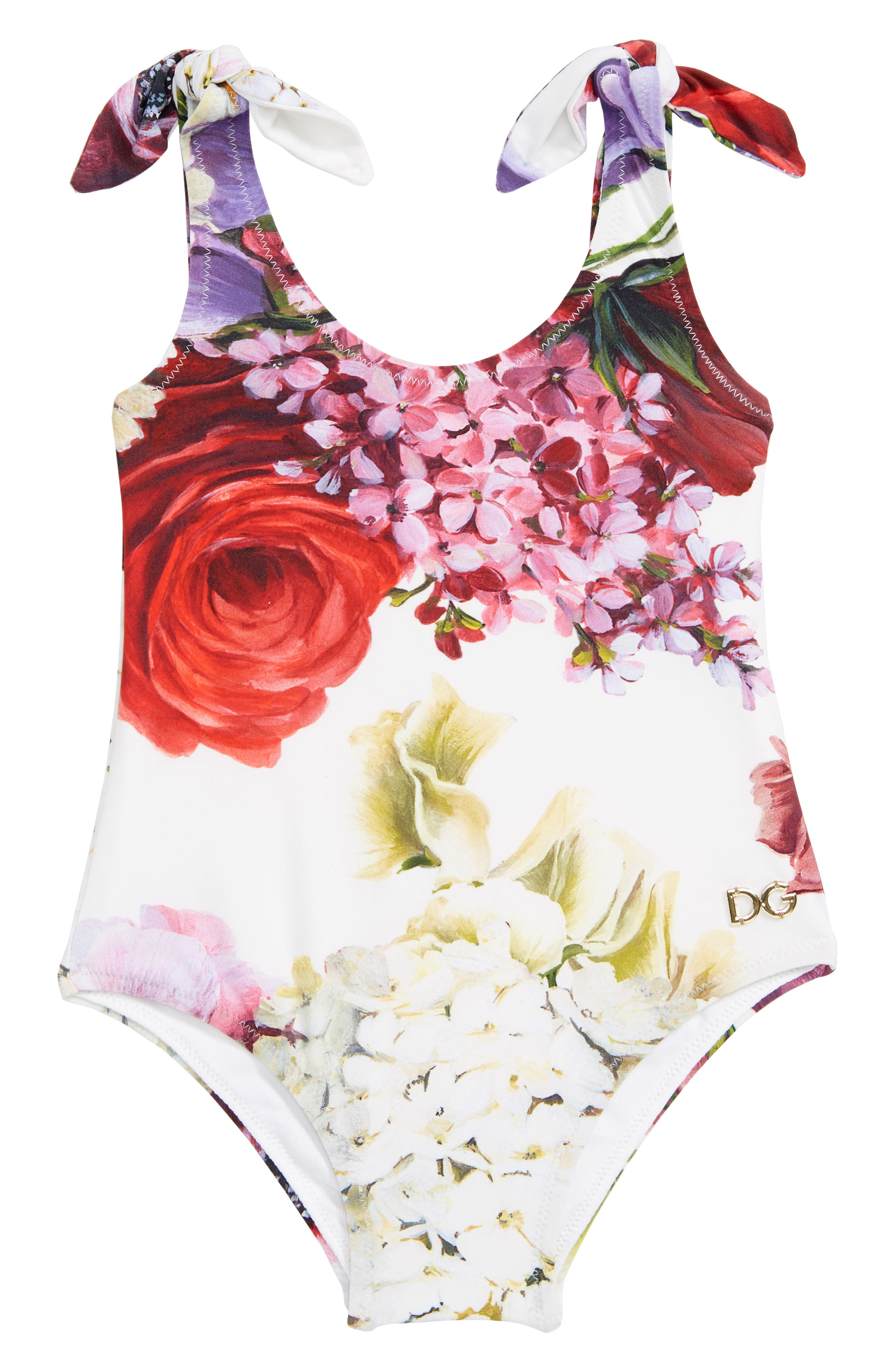 DOLCE&GABBANA, Intero One-Piece Swimsuit, Main thumbnail 1, color, ORTENSIE/ FIORI F.NAT