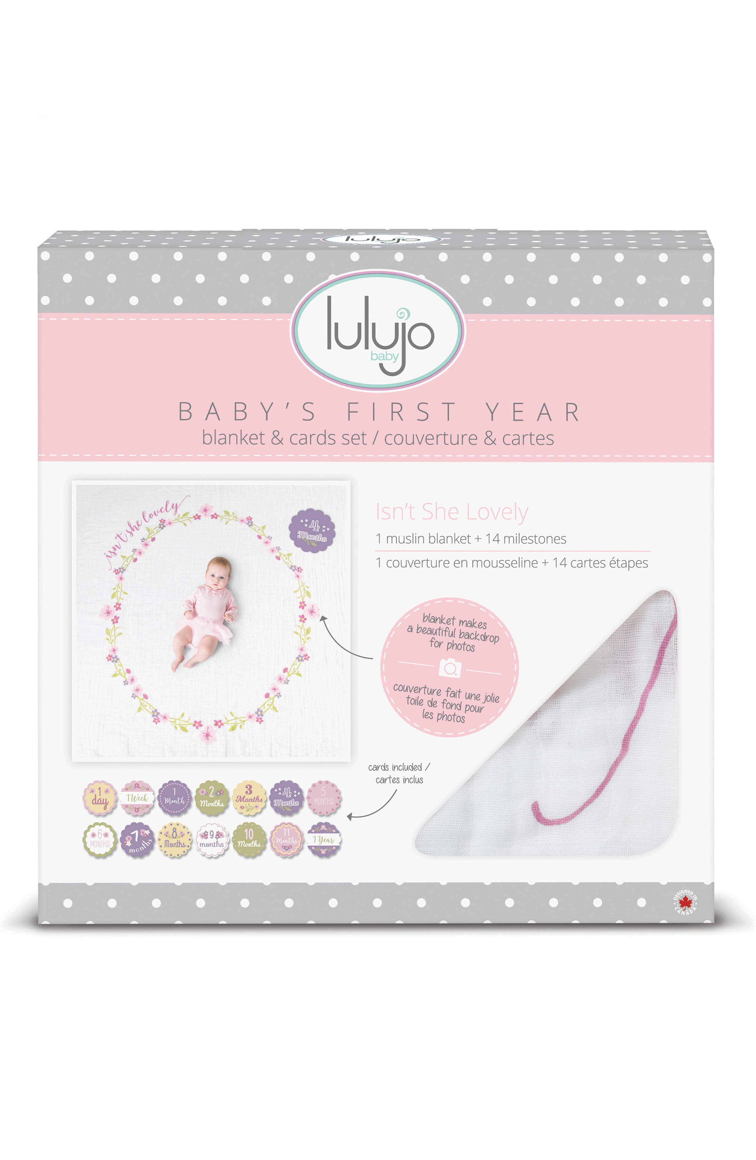 LULUJO, Baby's First Year - Isn't She Lovely Muslin Blanket & Milestone Card Set, Alternate thumbnail 2, color, ISNT SHE LOVEY