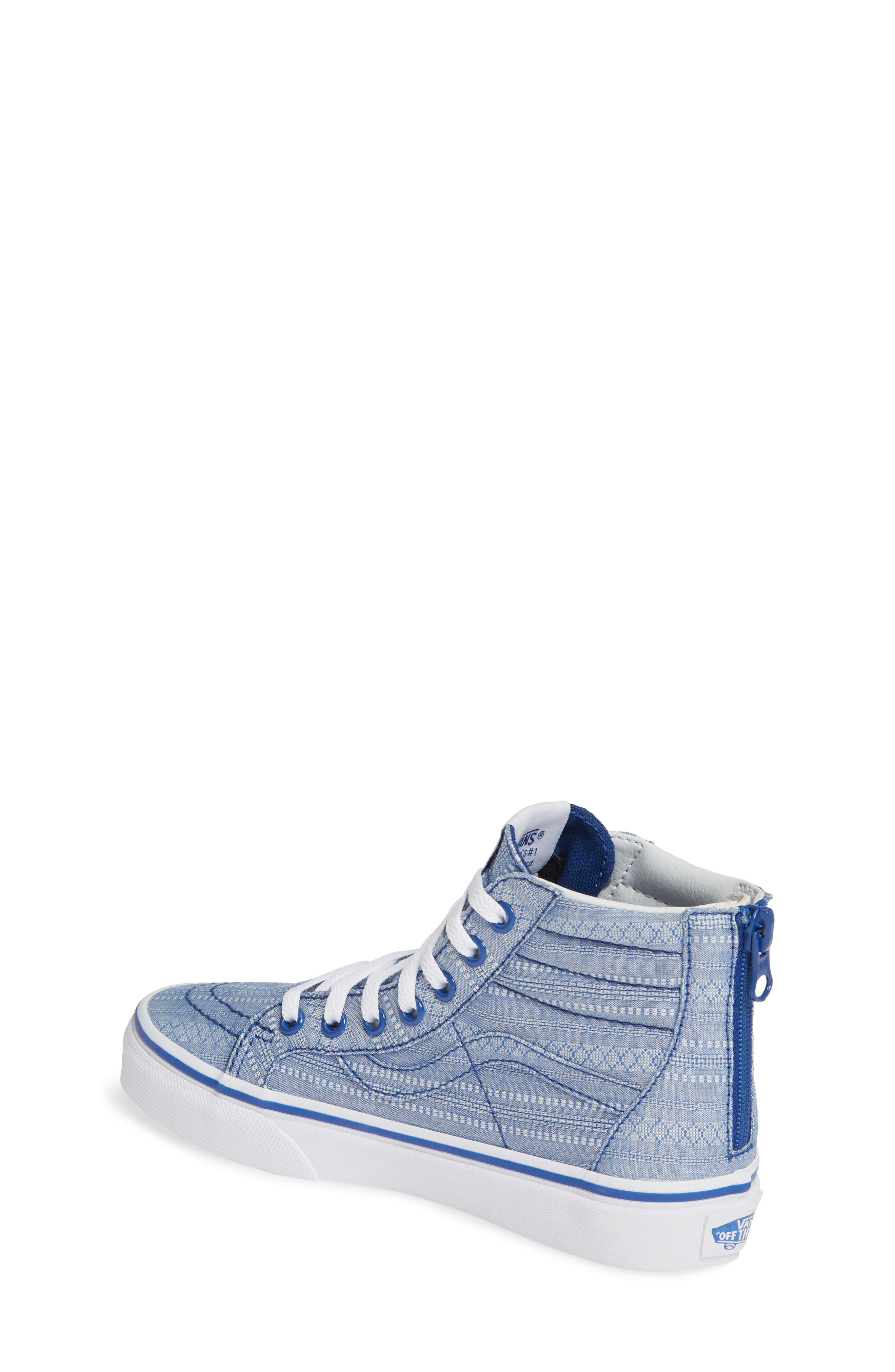VANS, Sk8-Hi Zip Sneaker, Alternate thumbnail 2, color, TRUE BLUE/ TRUE WHITE