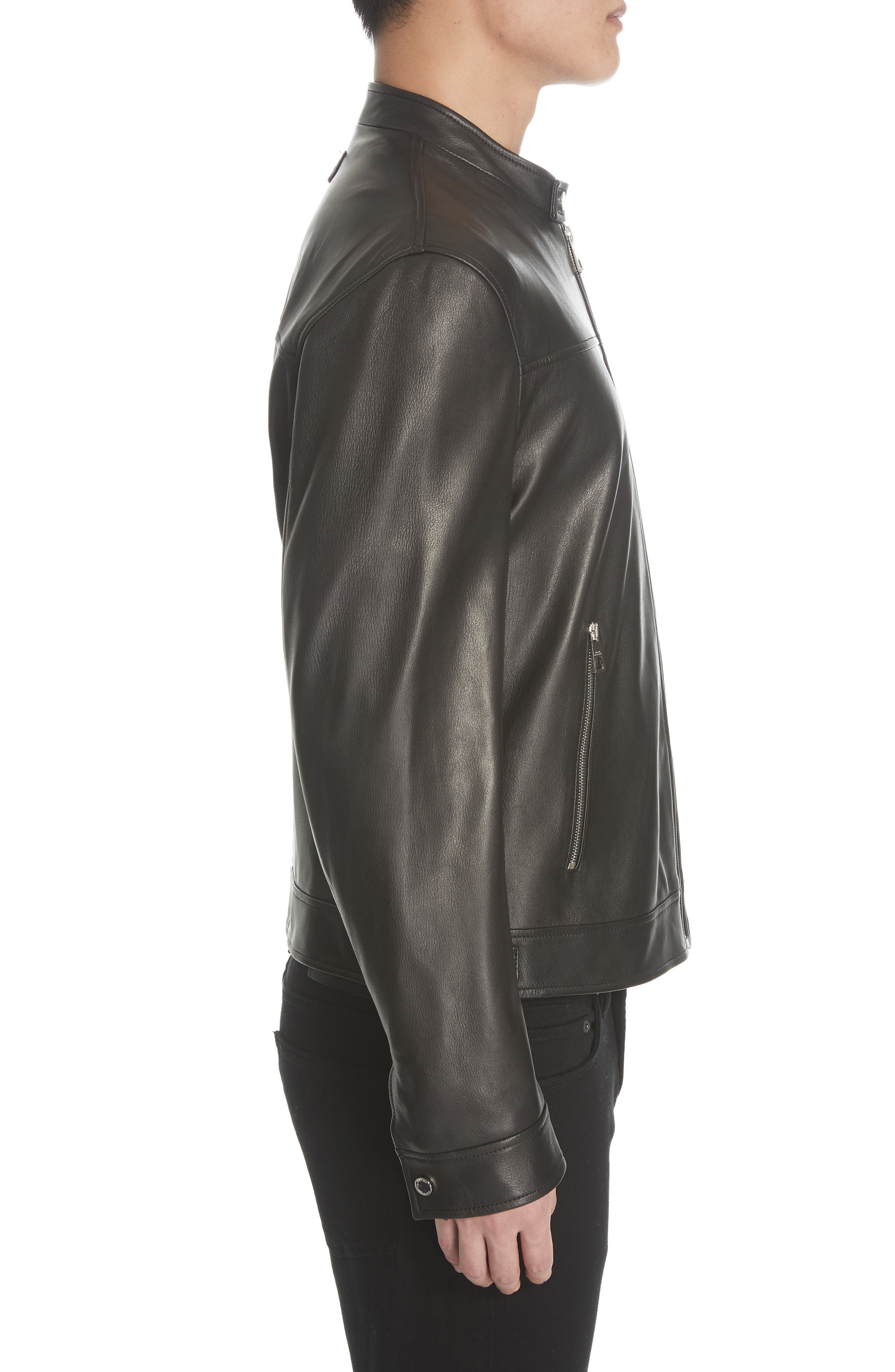 VERSACE COLLECTION, Lambskin Leather Jacket, Alternate thumbnail 3, color, 001