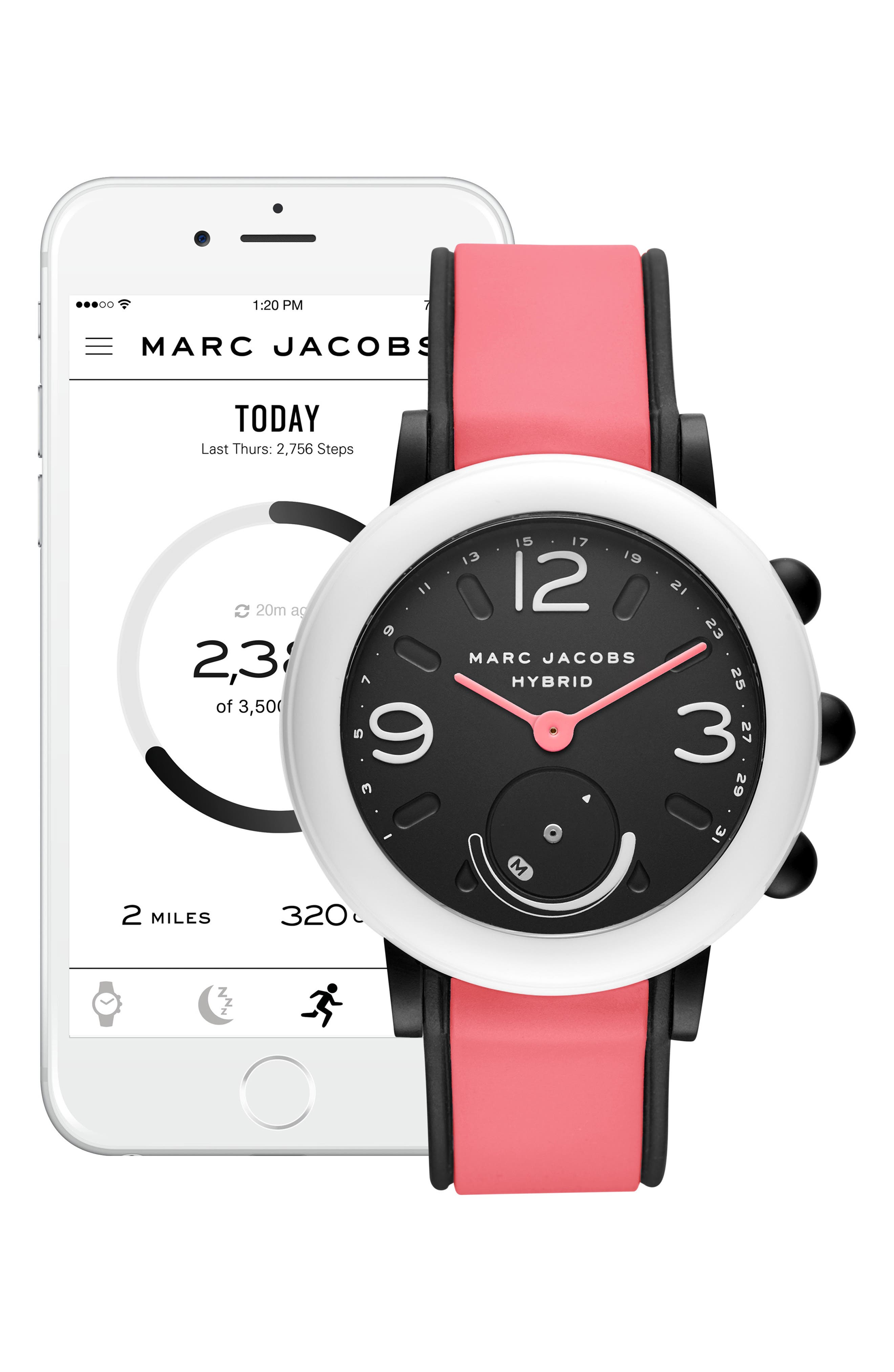 MARC JACOBS, Riley Hybrid Smartwatch, 44mm, Alternate thumbnail 5, color, BLACK