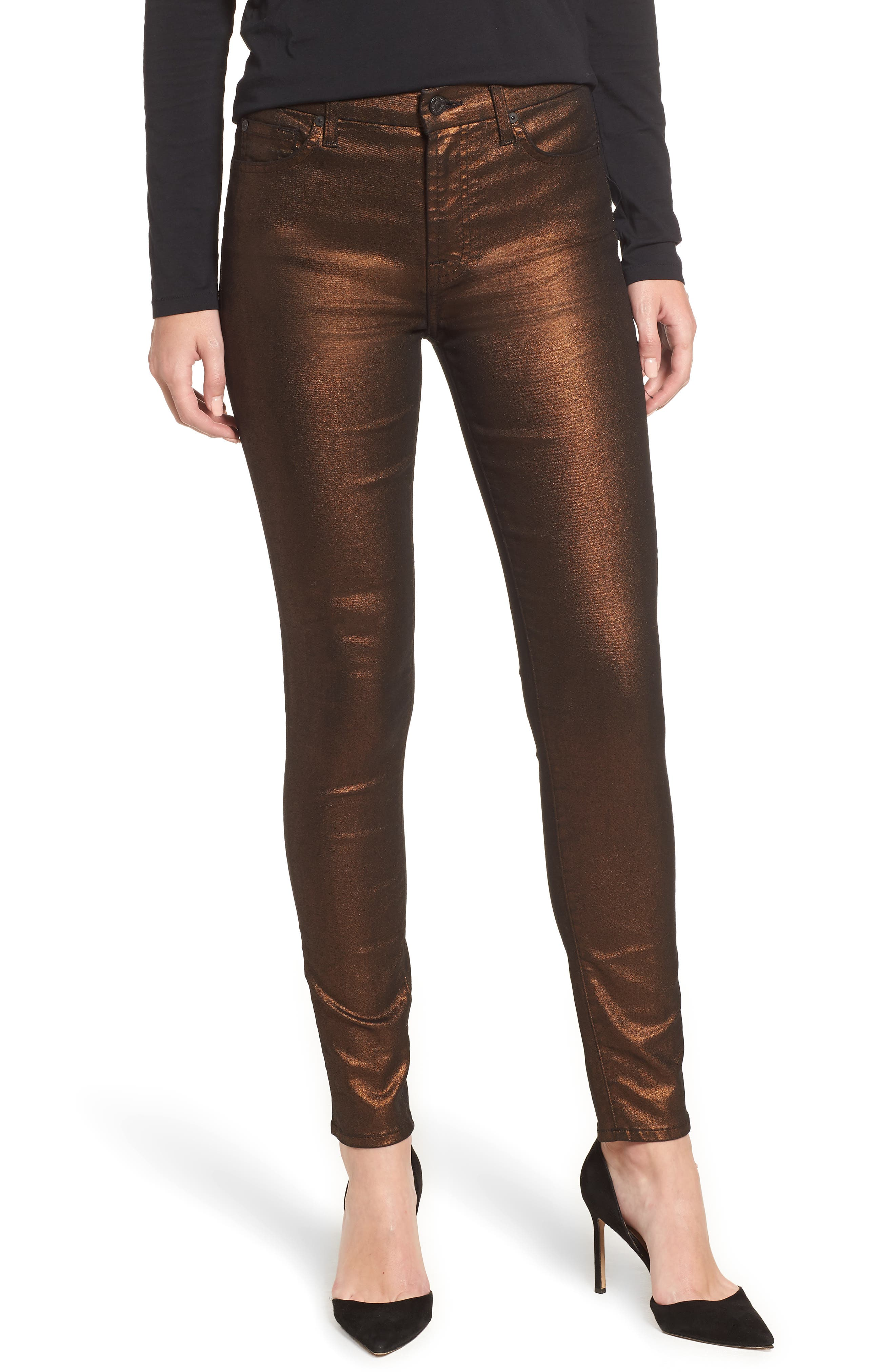7 FOR ALL MANKIND<SUP>®</SUP> Metallic Ankle Skinny Jeans, Main, color, 220