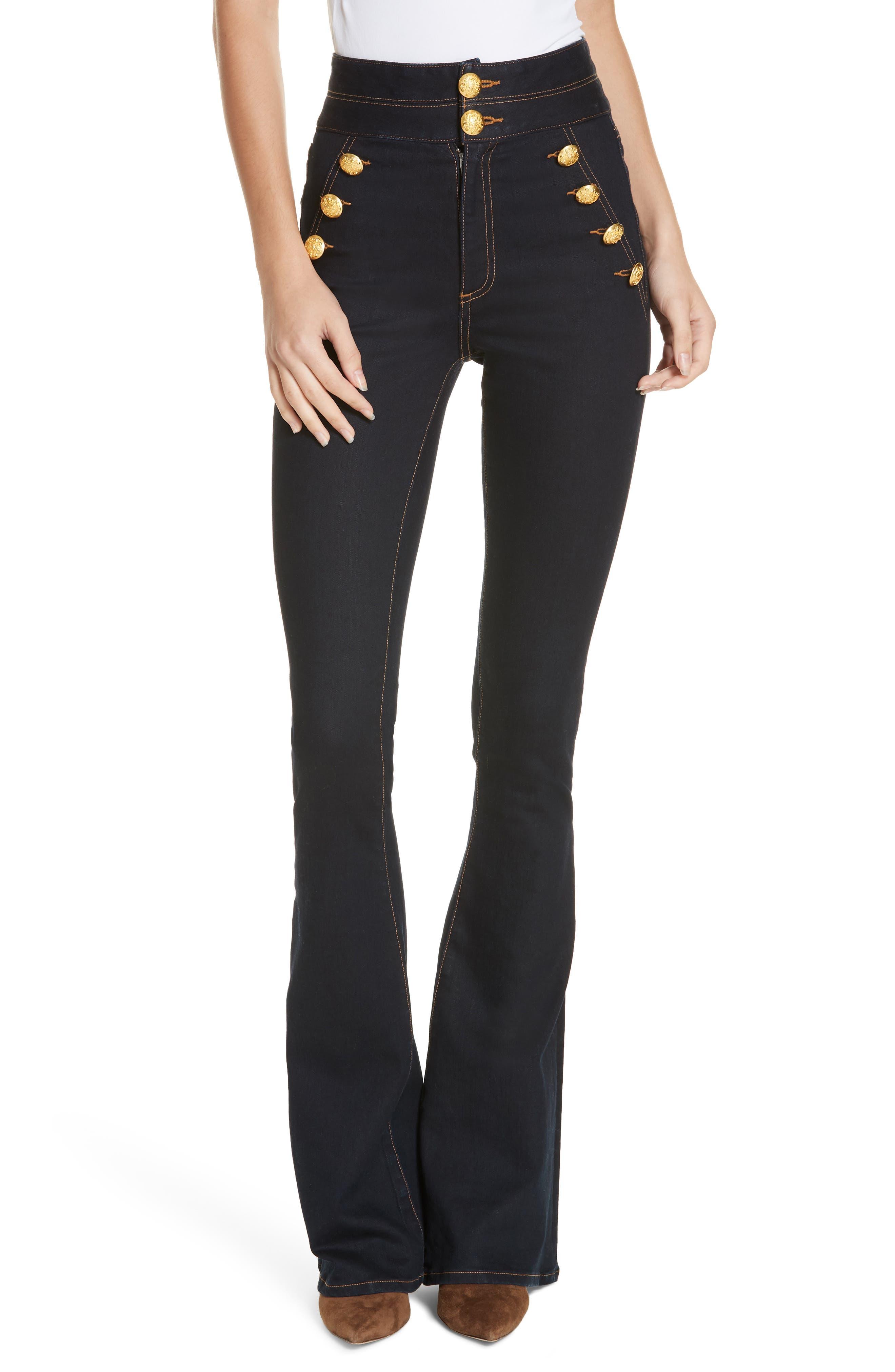 VERONICA BEARD, Dalida Button Detail Skinny Flare Jeans, Main thumbnail 1, color, INDIGO