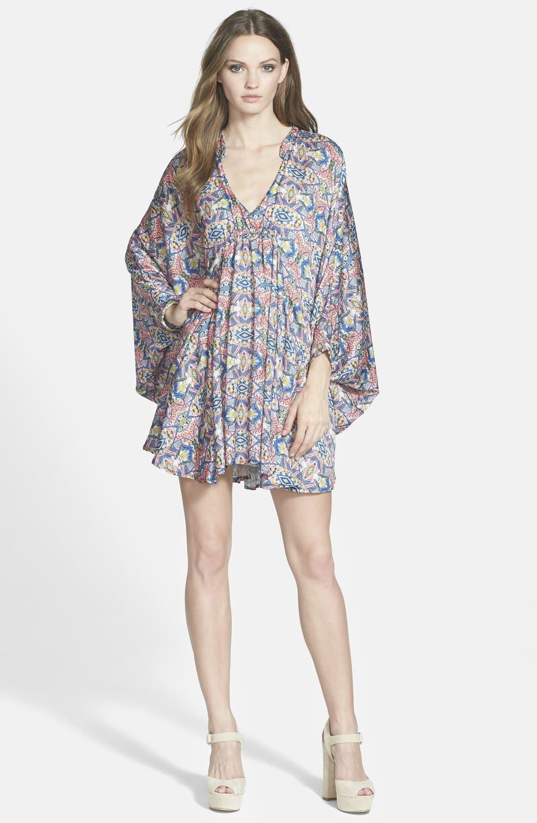 MAISIE, 'Lenore' Floral Print Kimono Dress, Main thumbnail 1, color, 001