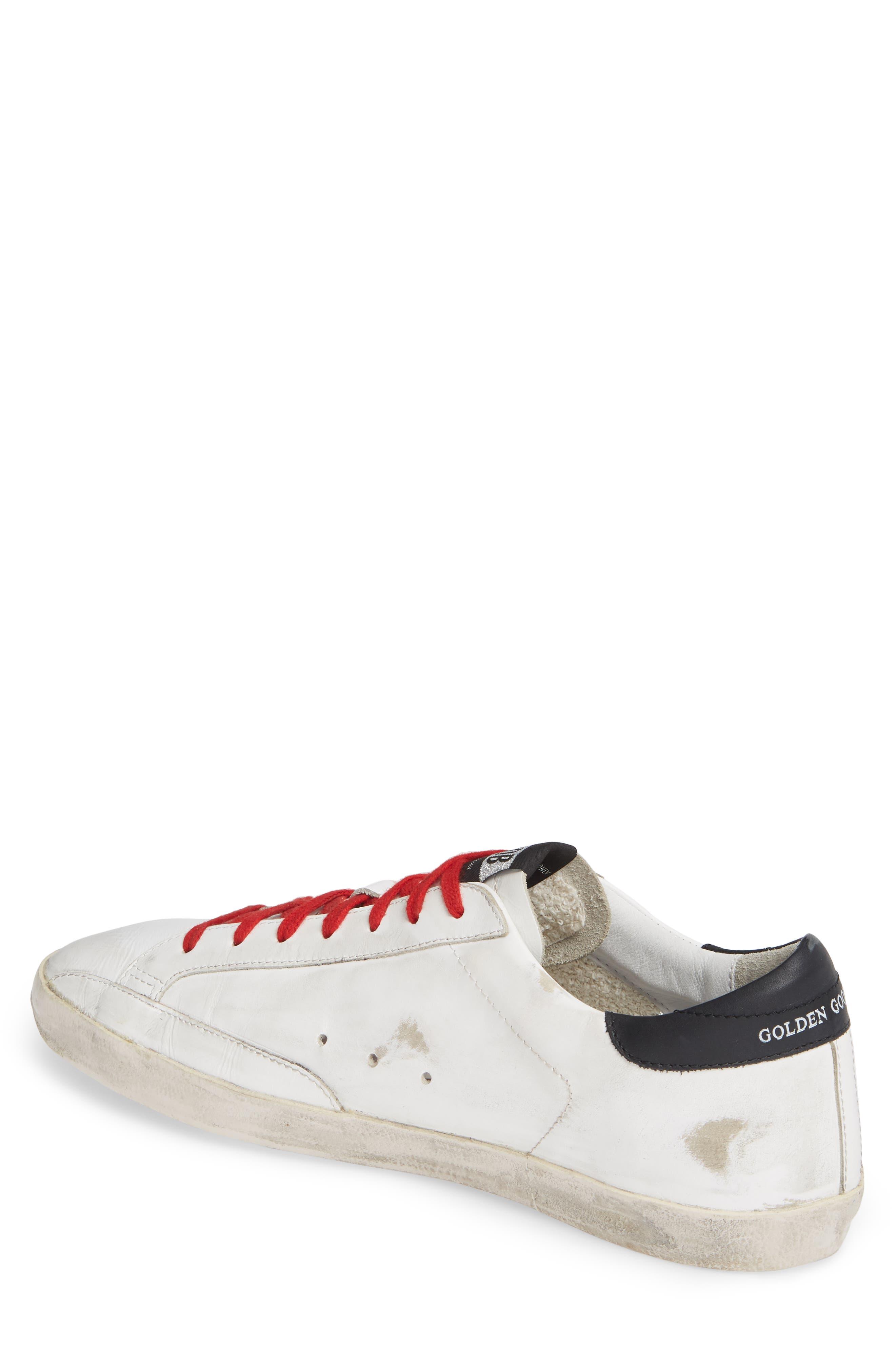 GOLDEN GOOSE, 'Superstar' Sneaker, Alternate thumbnail 2, color, WHITE/ BLACK