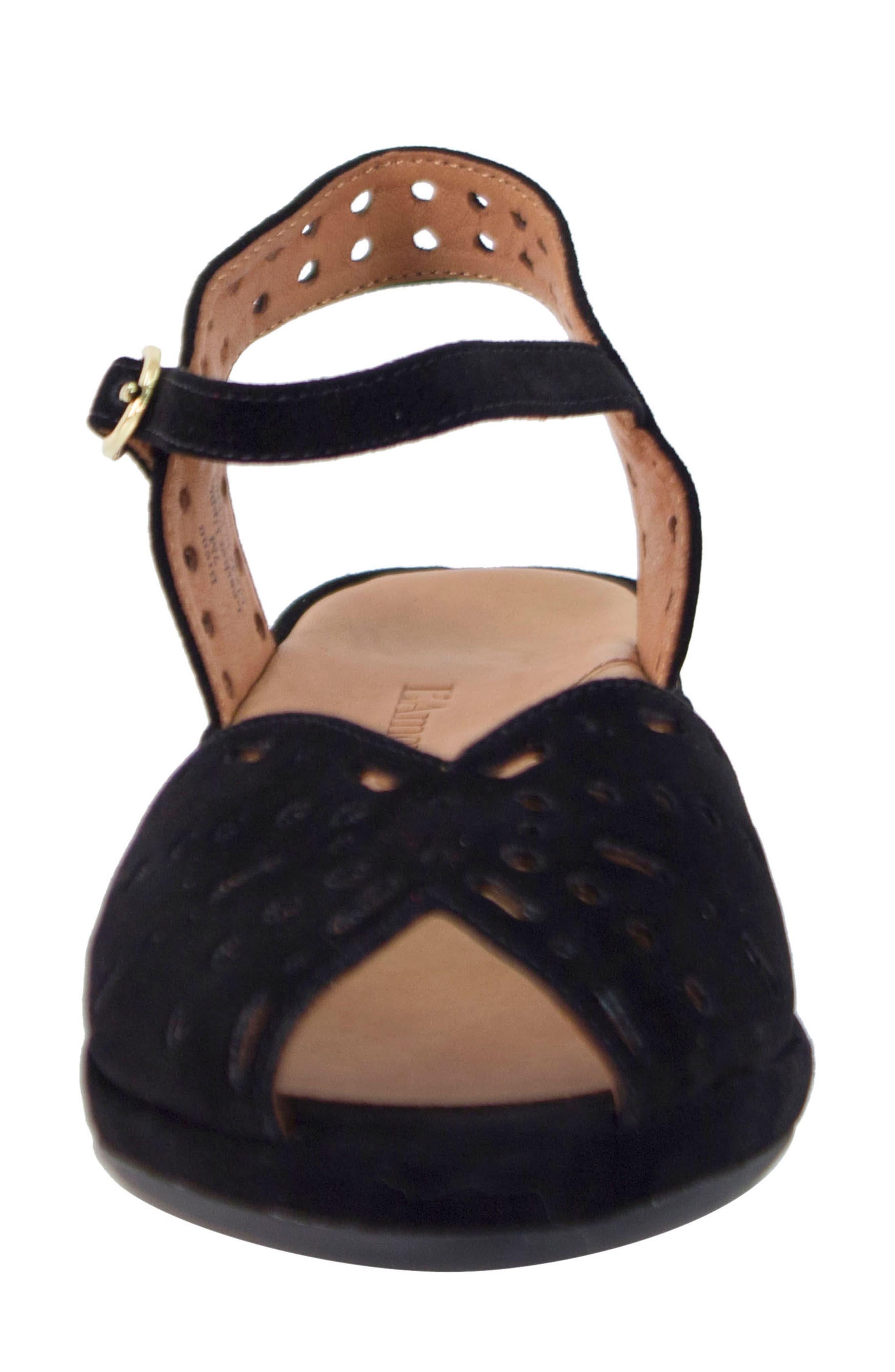 L'AMOUR DES PIEDS, 'Brenn' Ankle Strap Sandal, Alternate thumbnail 4, color, BLACK SUEDE