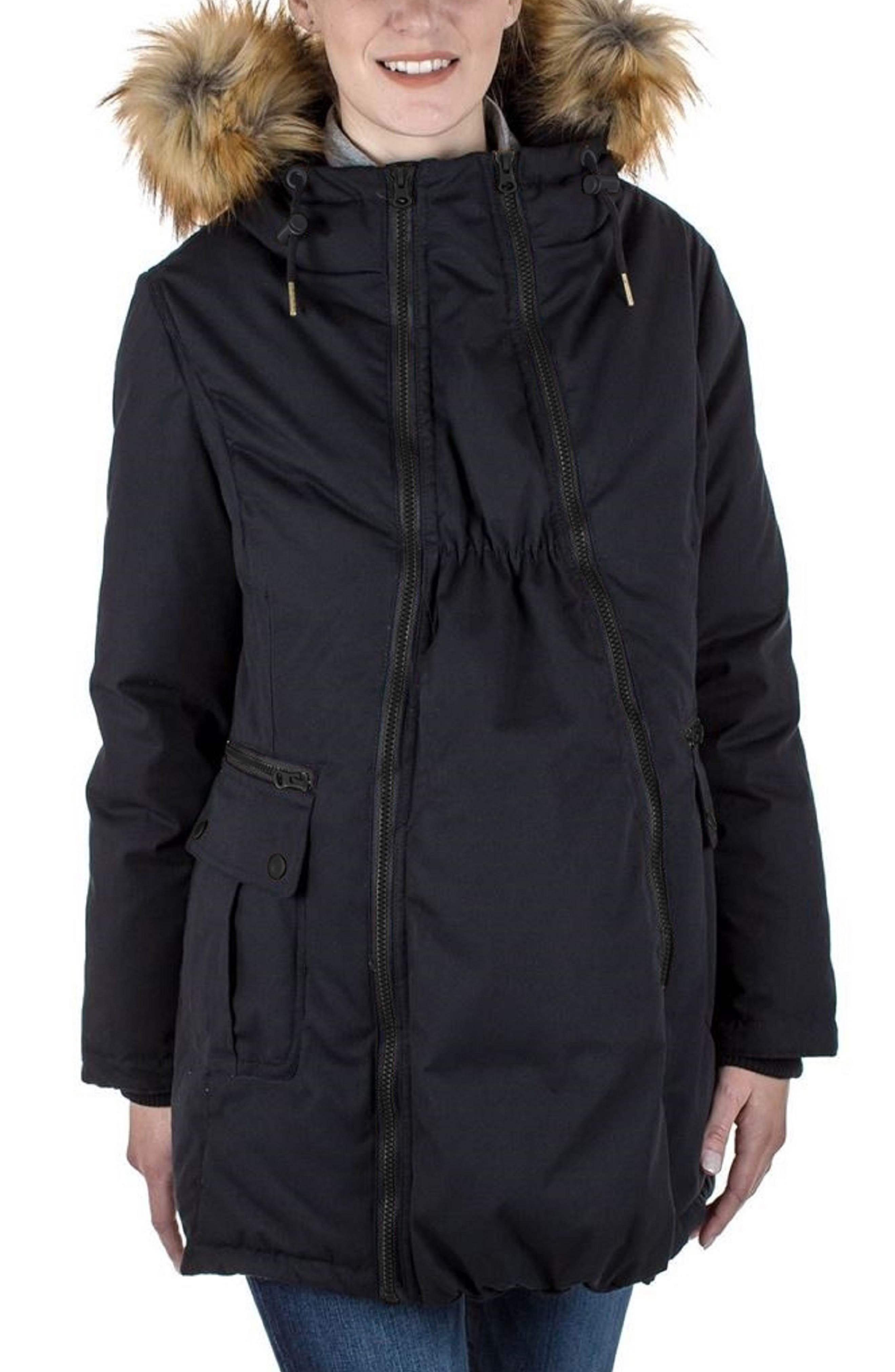 MODERN ETERNITY, Convertible Down 3-in-1 Maternity Jacket, Main thumbnail 1, color, BLACK